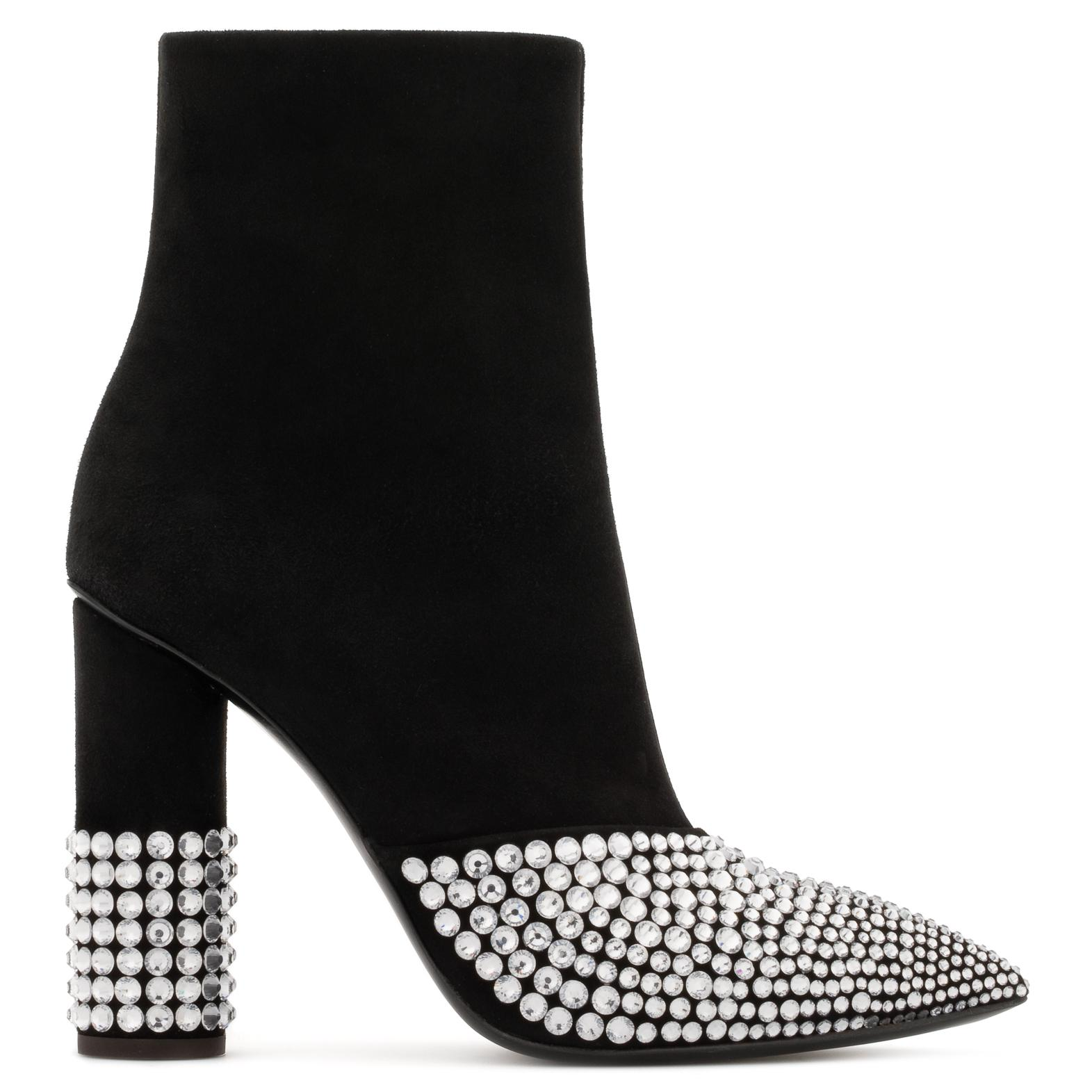 Giuseppe Zanotti Suede boot with crystals and chunky heel RAINA i9bkB