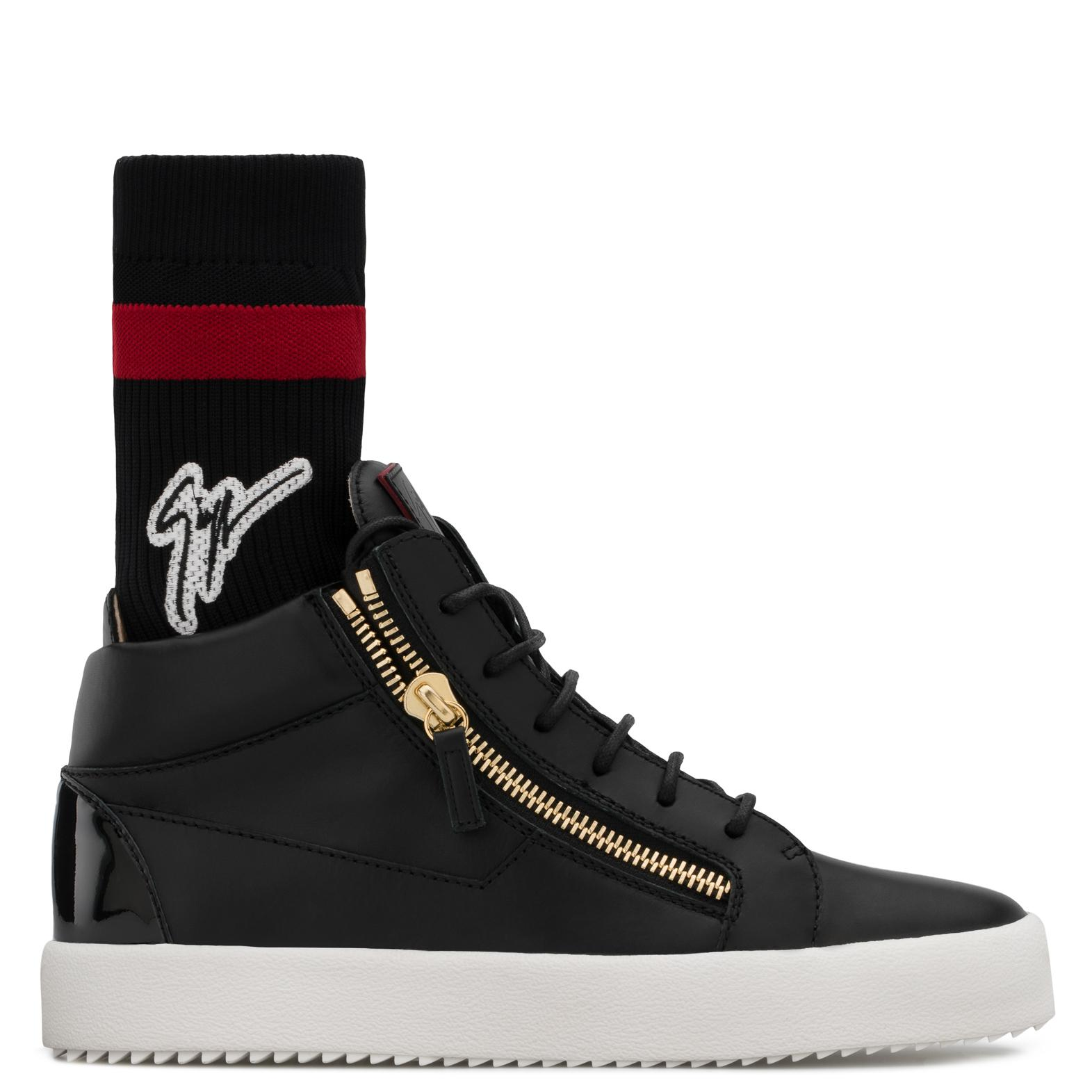 Giuseppe Zanotti Calfskin leather low-top sneaker with and red sock with logo KRISS PLUS OMAv7K