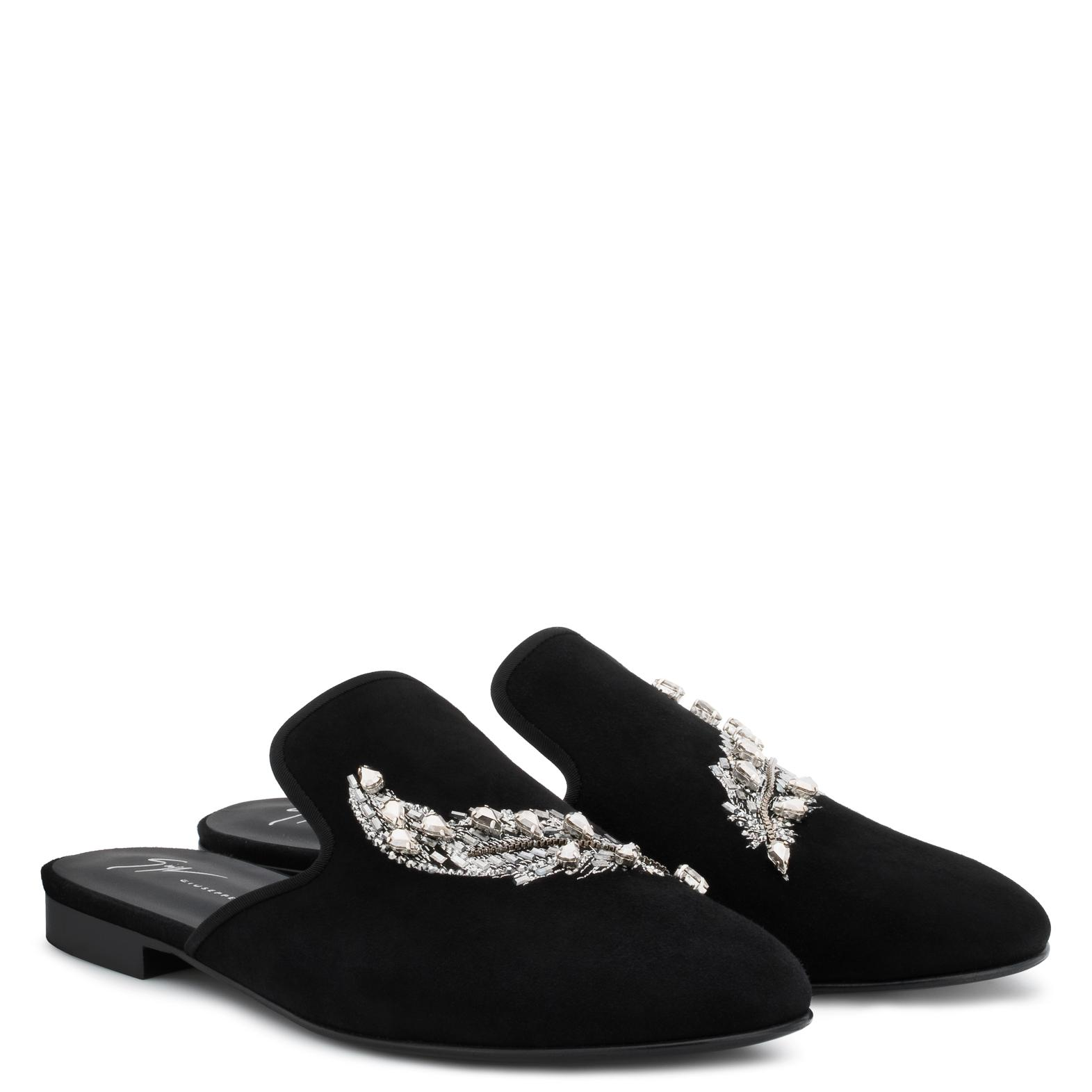 Giuseppe Zanotti Suede flat slipper with crystals MYRON qZ3fjk