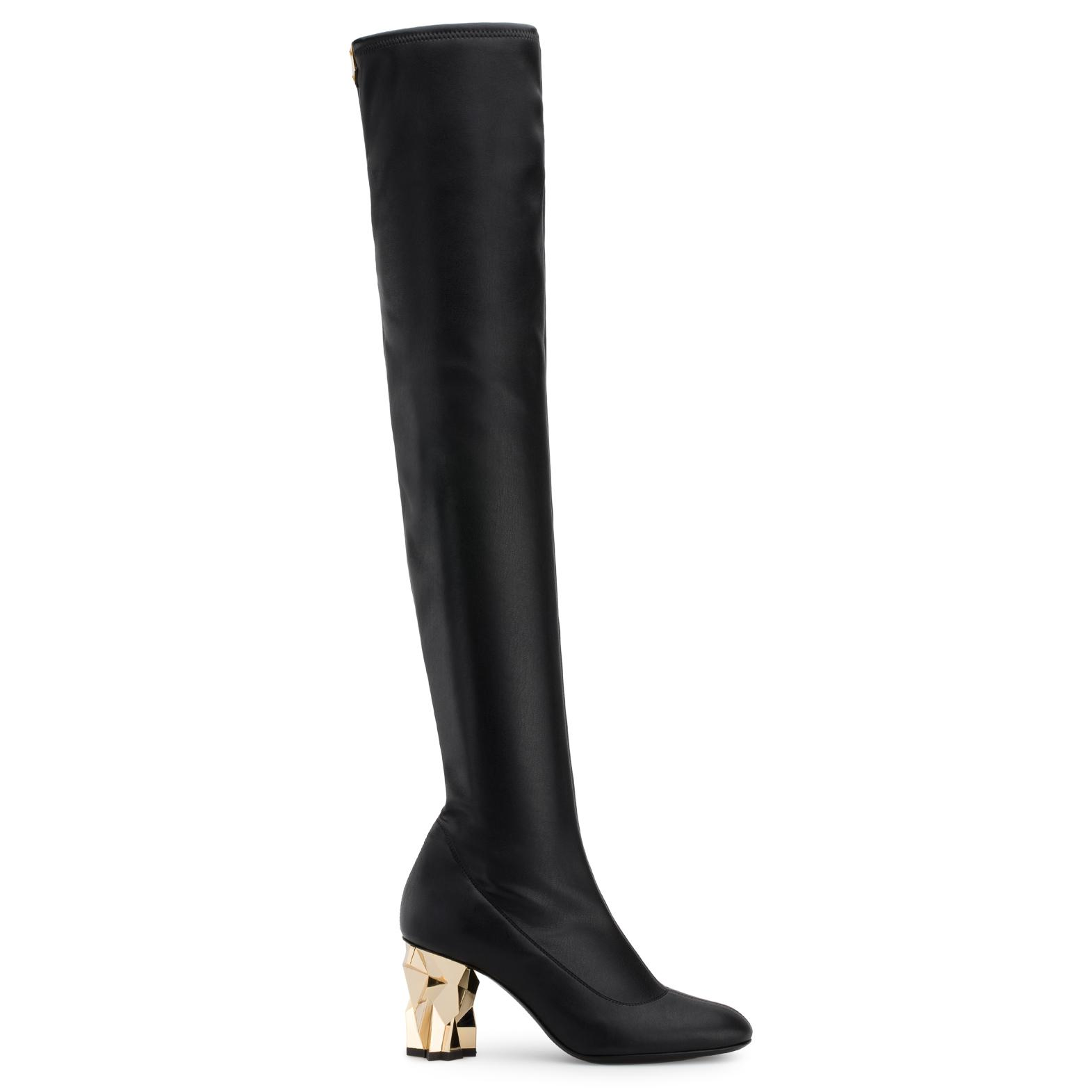 Giuseppe Zanotti Stretch leather cuissard boot with 'sculpted' heel GHIACCIO 7QKI2SF