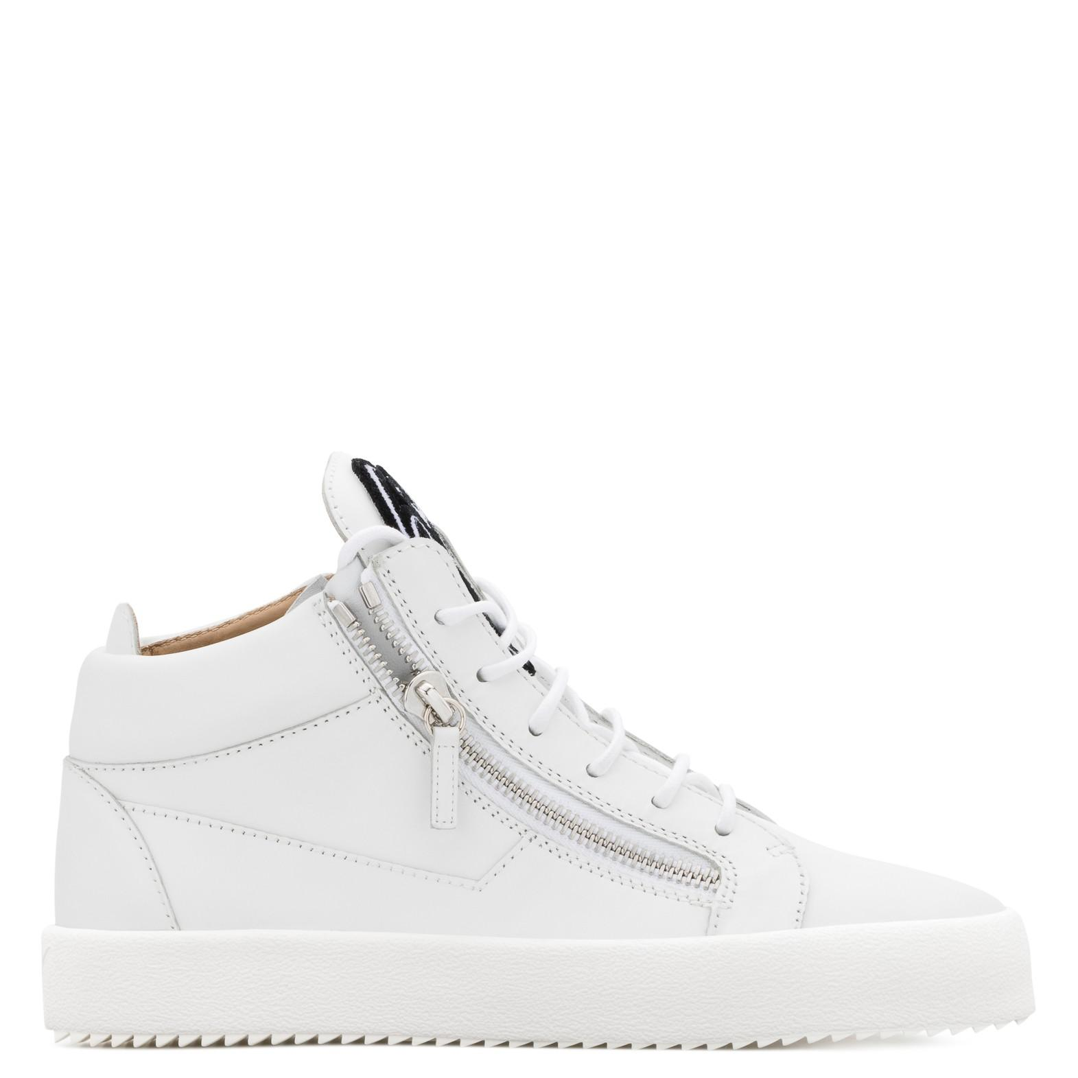 Giuseppe Zanotti Leather Mid Top Sneaker With Signature