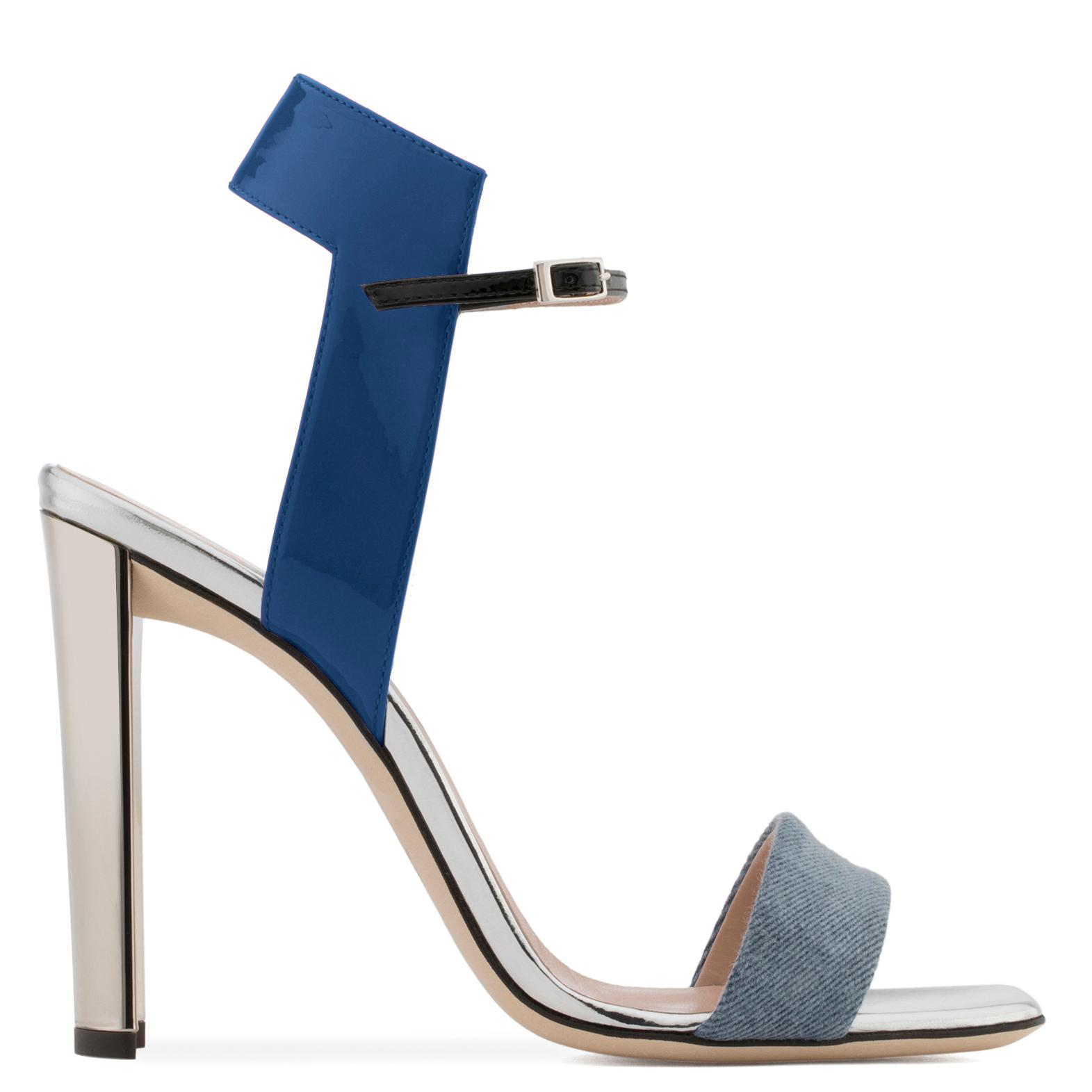 Giuseppe Zanotti Blue denim and leather sandal with chunky mirrored heel BRIELLE fIW4RSd