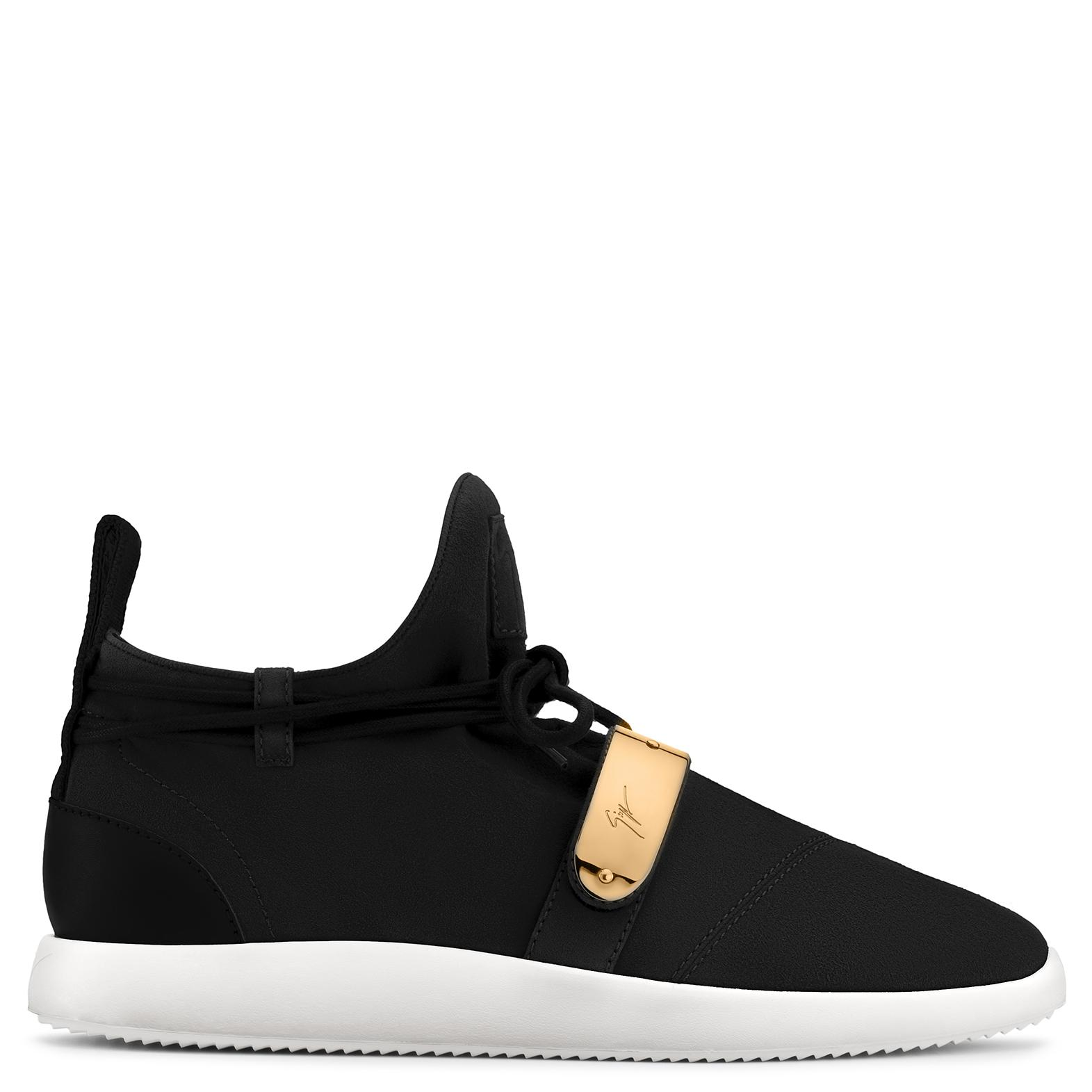 Giuseppe Zanotti Leather low-top sneaker with white and red leather inserts HADEN xmkk7Ay