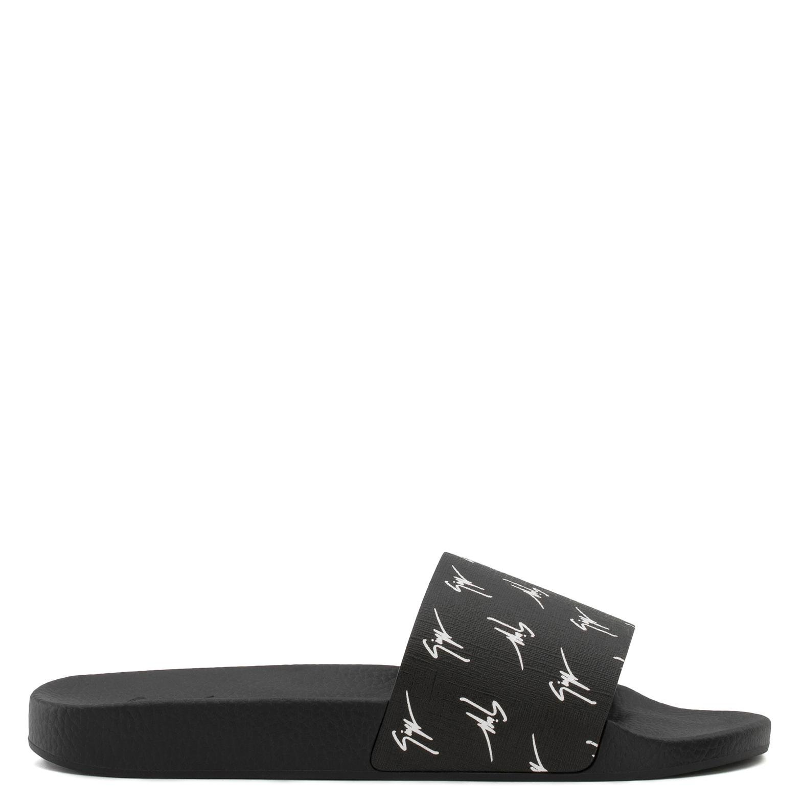 Giuseppe Zanotti Calfskin leather sandal with white logo motif BRETT SIGNATURE Z5ceGWf