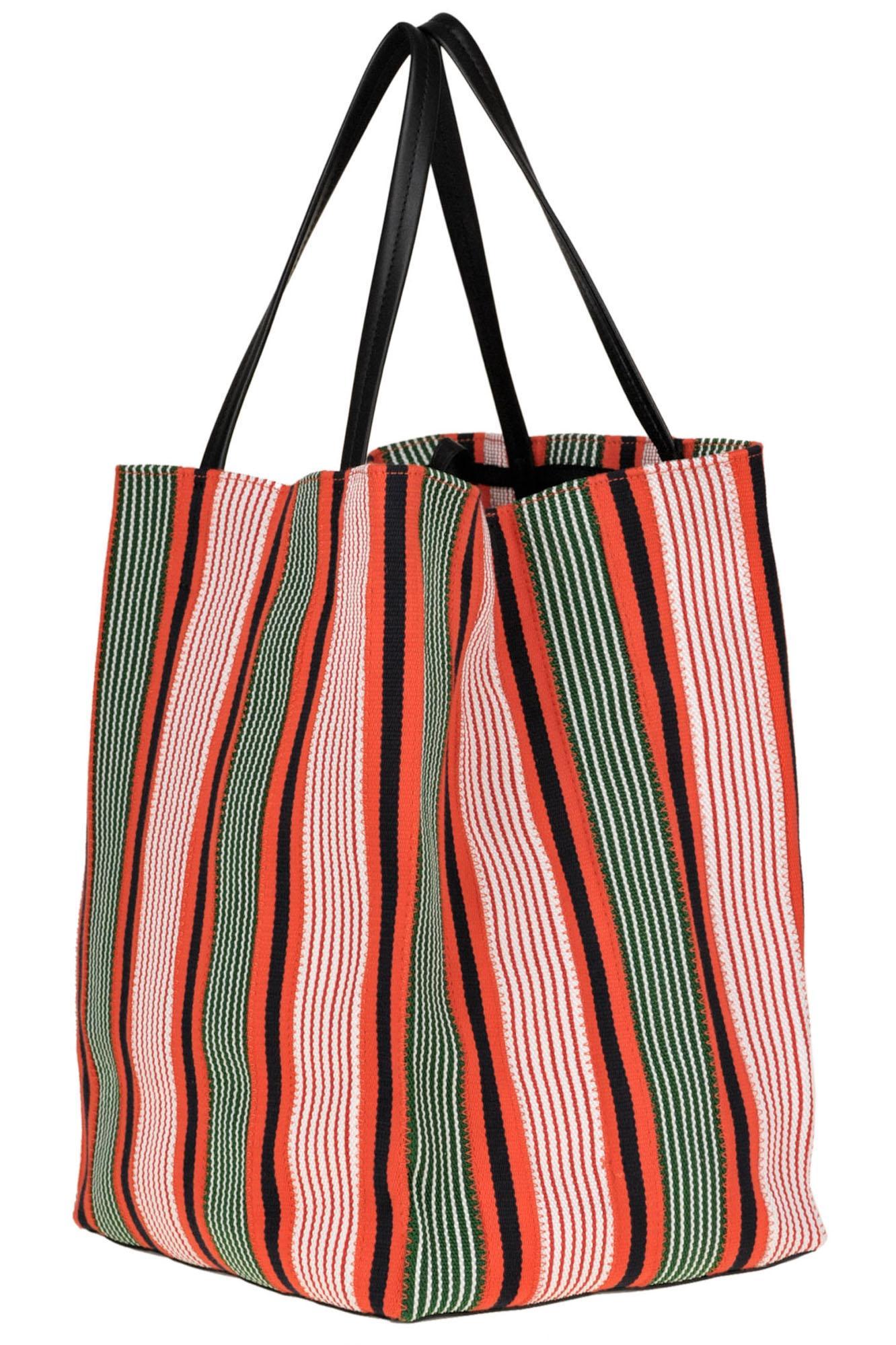 6d2ebc437473 Céline - Red Striped Canvas Shopping Bag - Lyst. View fullscreen
