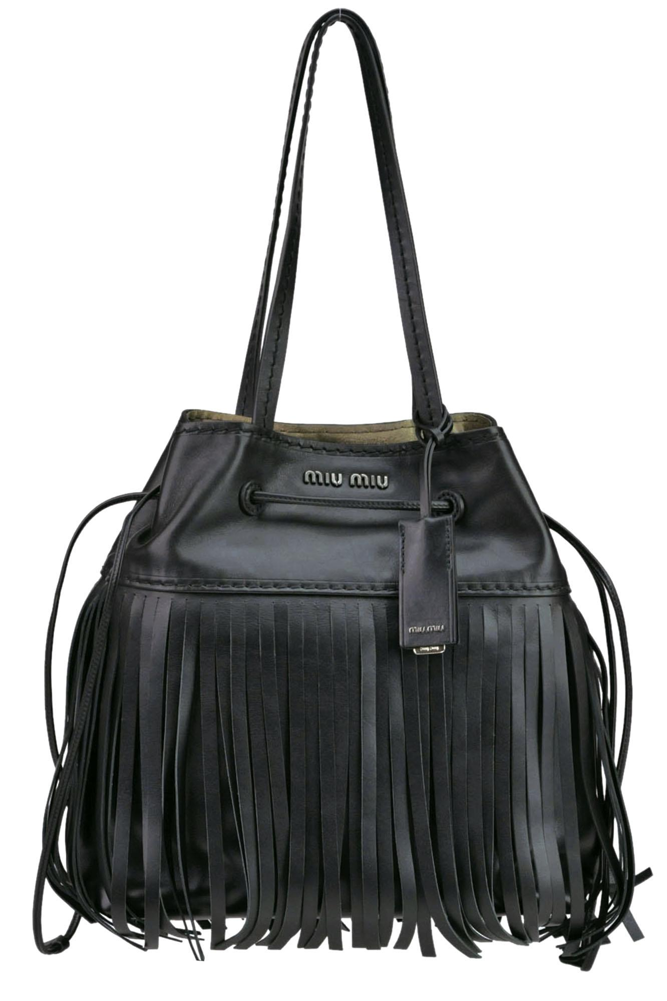 013767a184a3 Miu Miu City Calf Fringed Bag in Black - Lyst