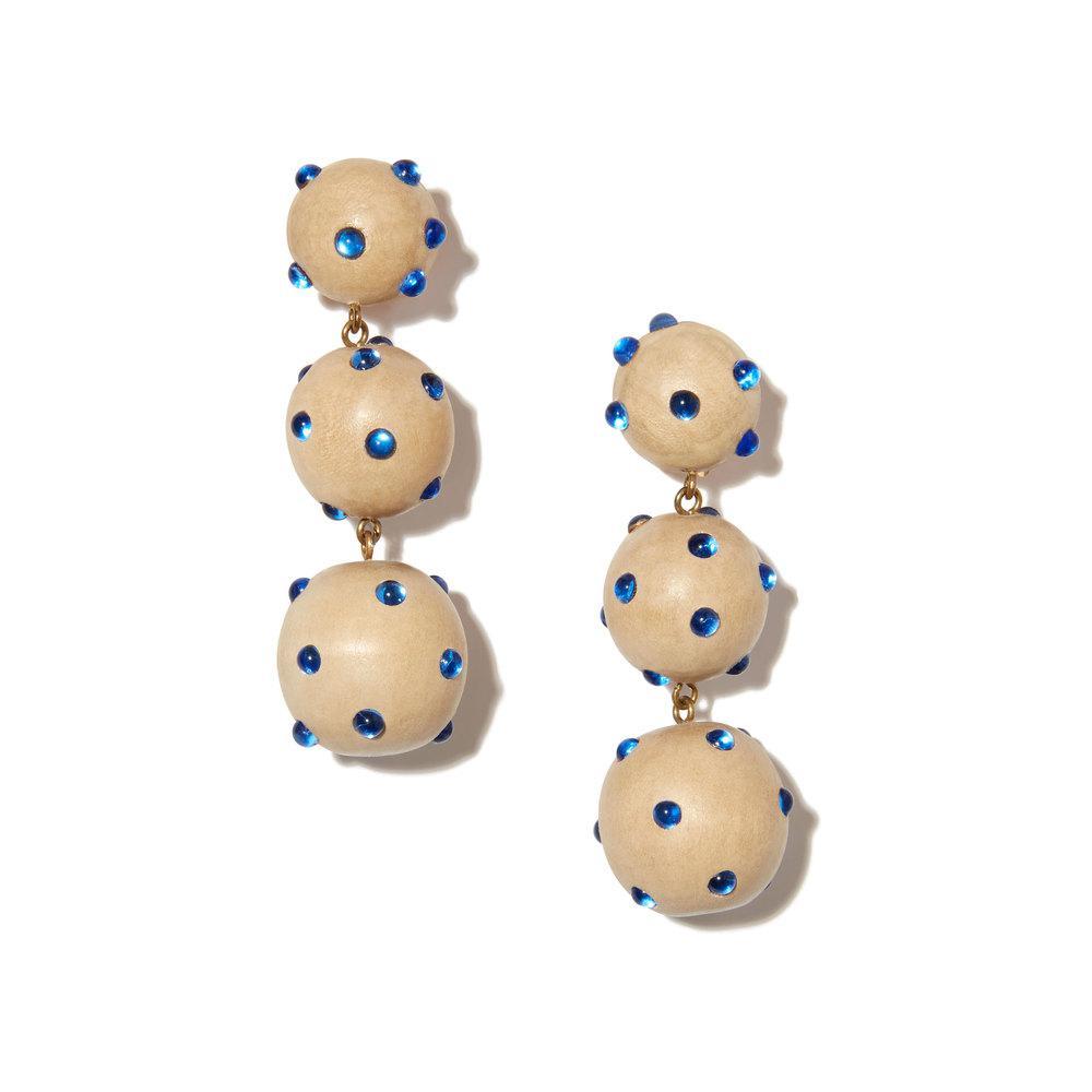 Rebecca de Ravenel Three Drop wood and glass clip-on earrings YcsPaCN
