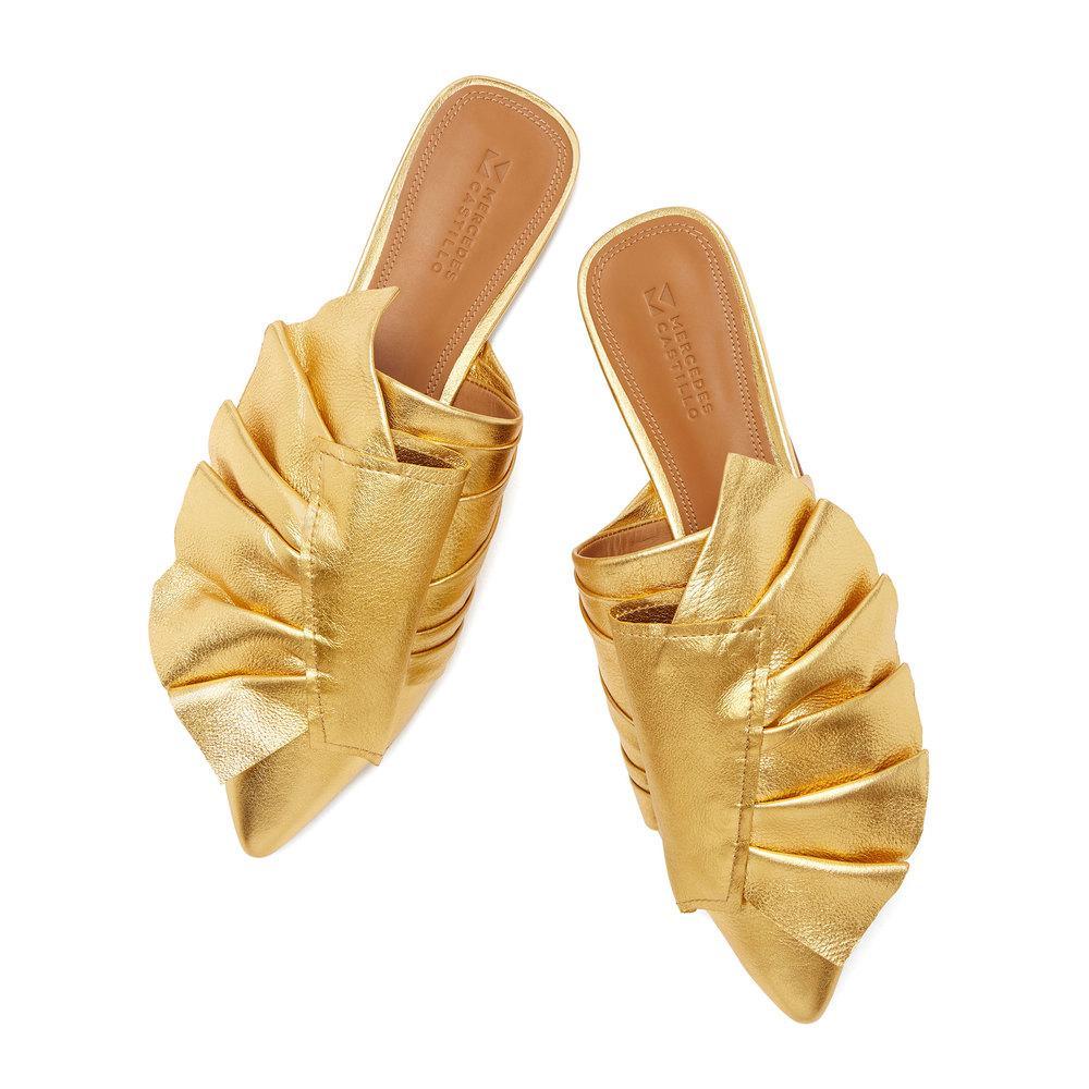 0bfeaaaa9d9 Lyst - MERCEDES CASTILLO Tami Flat Mules Shoe in Metallic