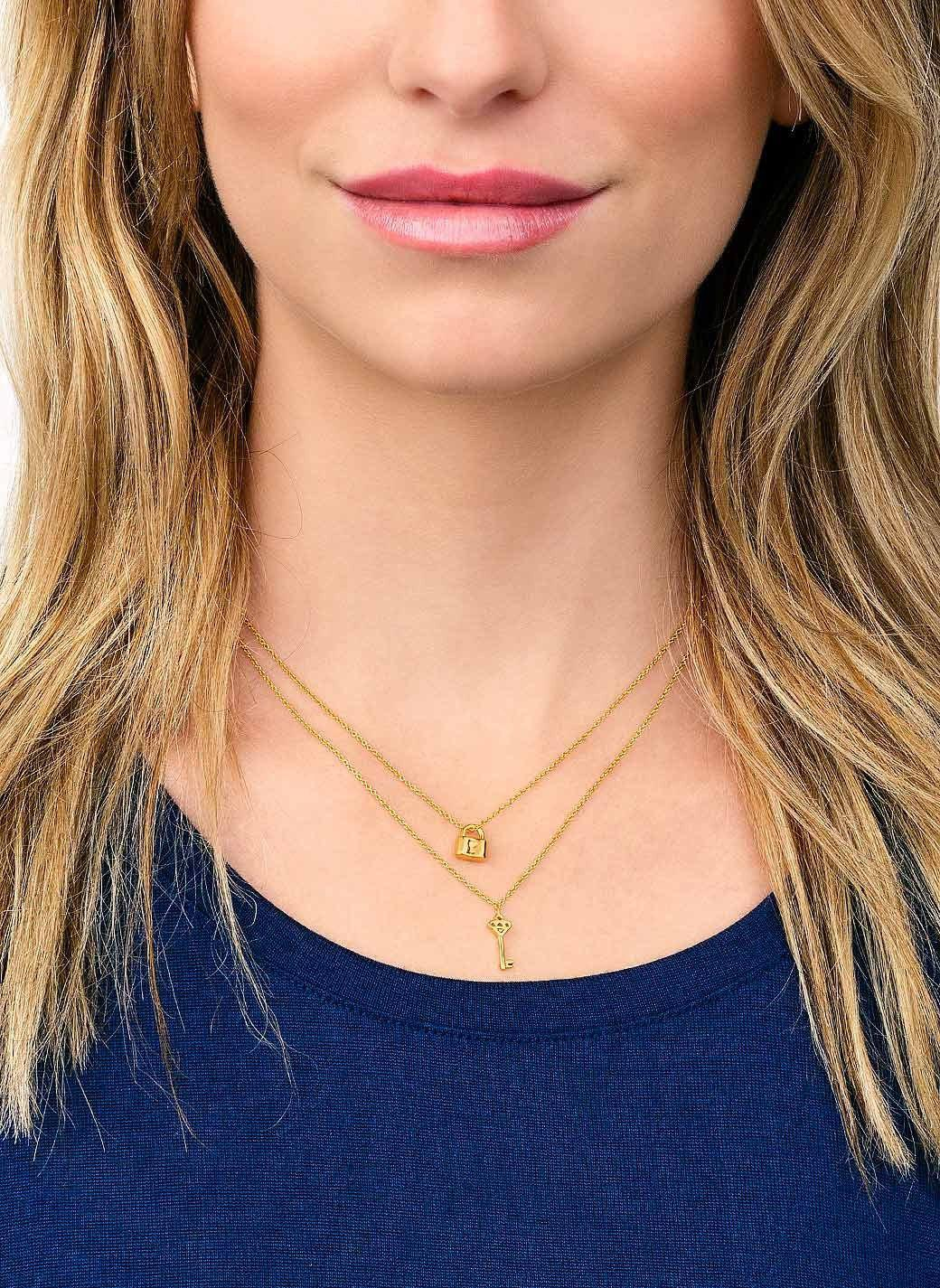 Gorjana & Griffin You + Me Lock And Key Necklace Set in Gold (Metallic)