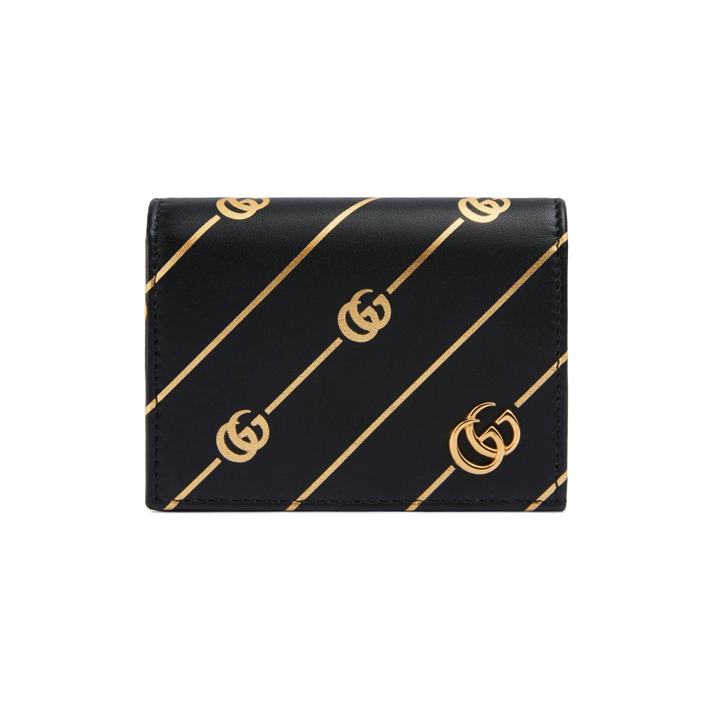 8d21bb72e Lyst - Tarjetero de Piel con Rayas y Doble G Gucci de color Negro