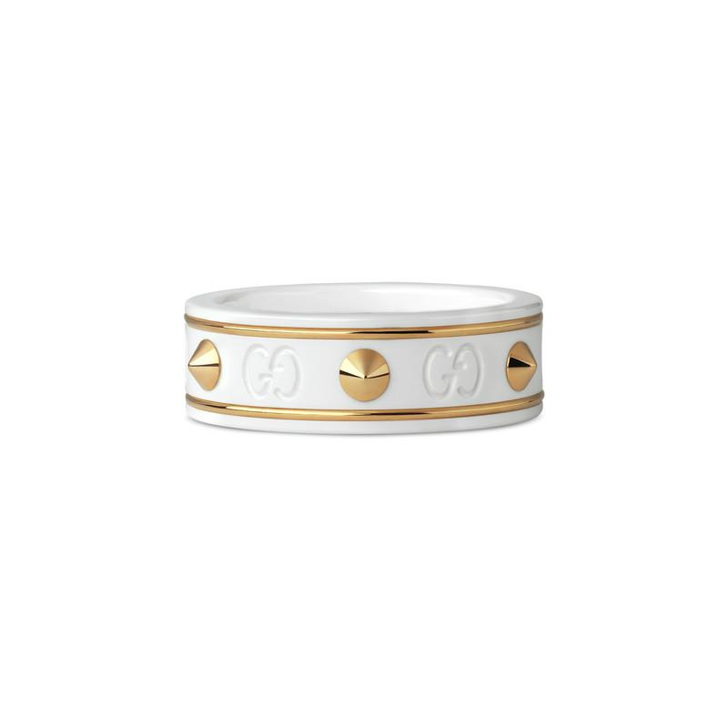 bcf08626d0d Gucci Icon Ring With Studs In Yellow Gold in Metallic - Lyst