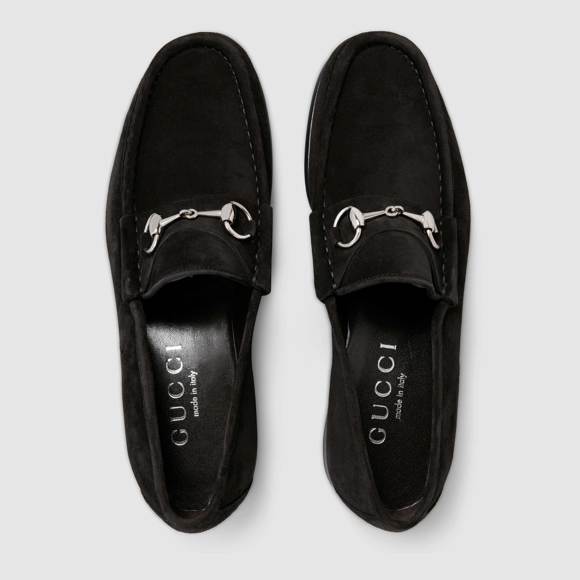 ebc3108a7ac Gucci Horsebit Suede Loafer in Black for Men