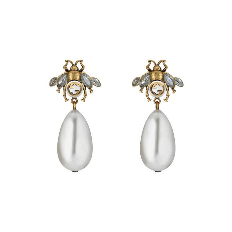 Gold and Off-White Pearl Drop Earrings Gucci PKH7vhrAOU