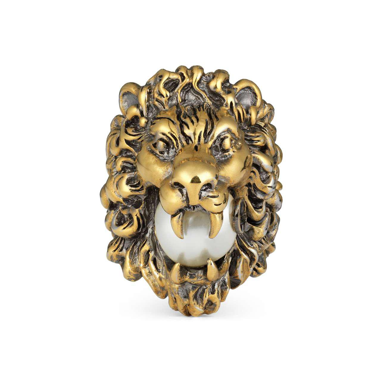 228cc31fcafa58 Lyst - Gucci Lion Head Ring With Glass Pearl in Metallic - Save 5%