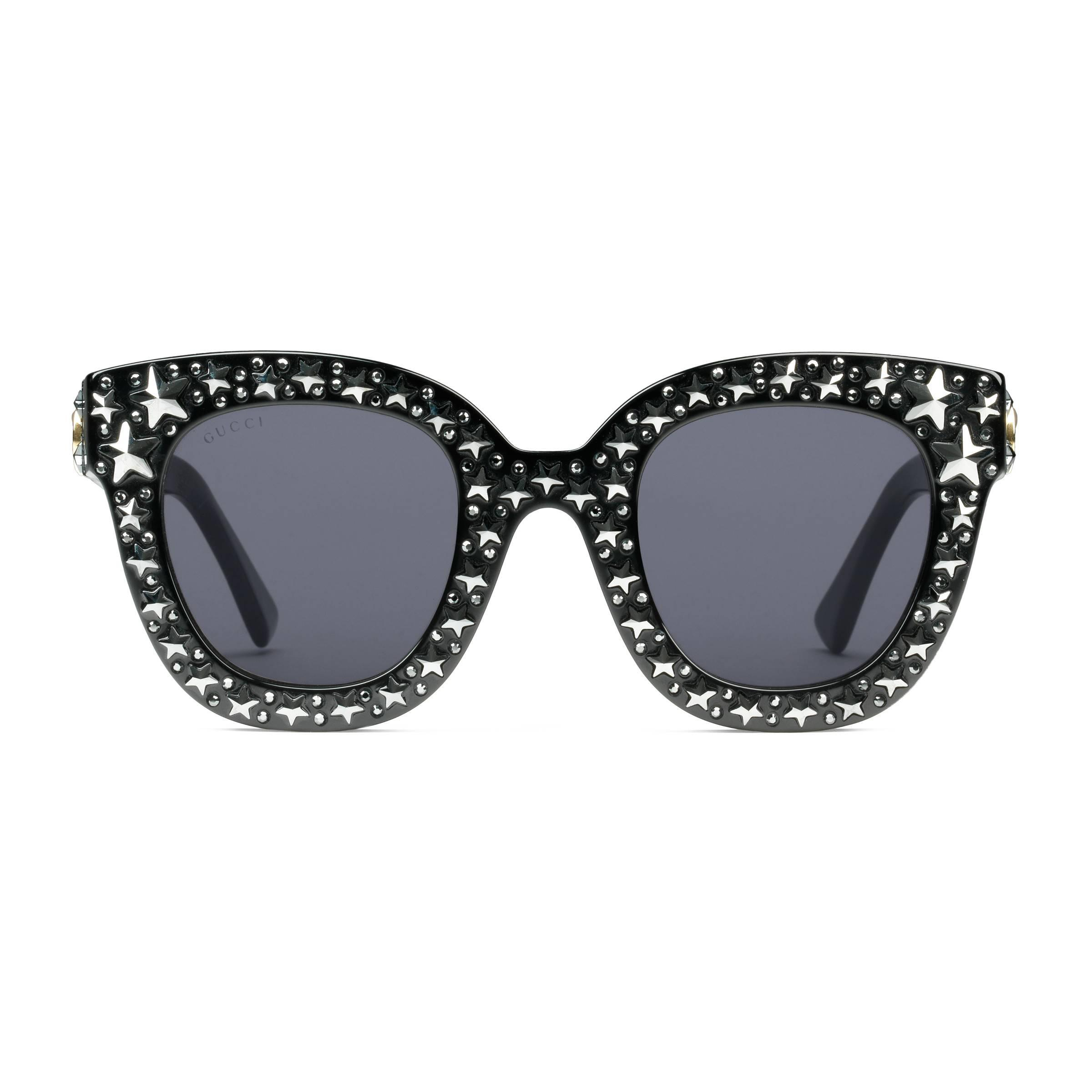 d6372d2ed54 Gucci Cat Eye Acetate Sunglasses With Stars in Black - Save 14% - Lyst