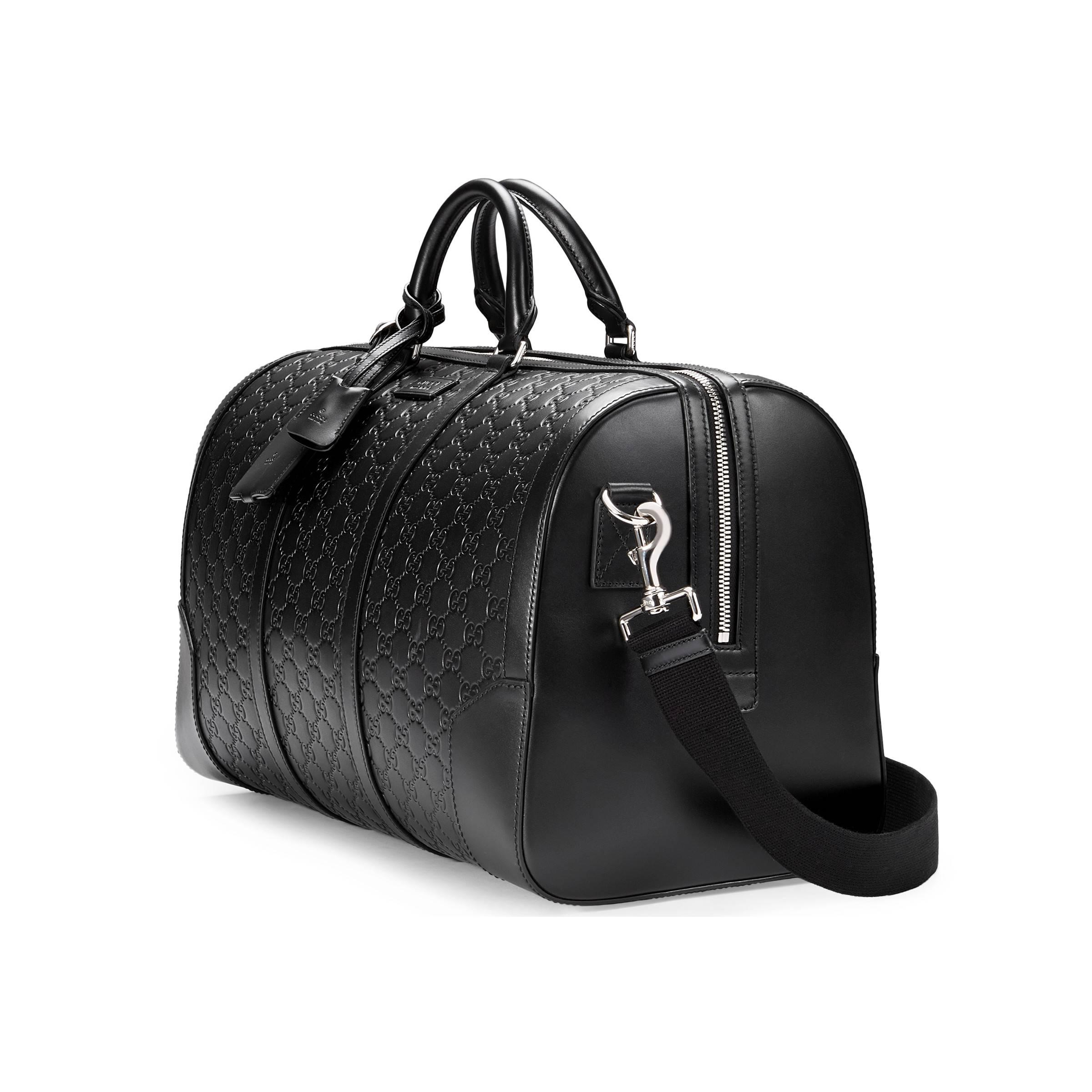 d550bc235785 Gucci Signature Leather Duffle in Black for Men - Save 26% - Lyst