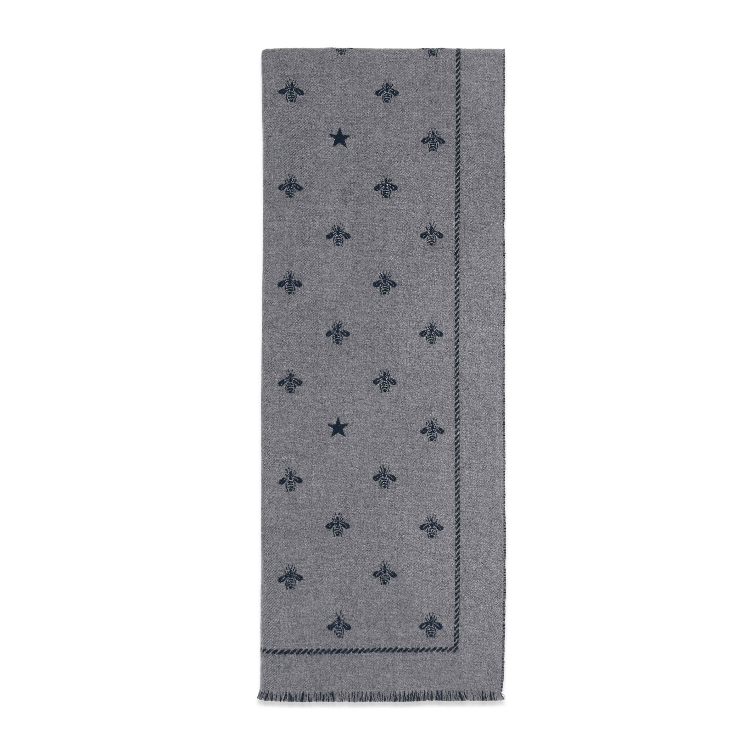 03e4b3ddd0e6bd Gucci Schal aus Wolle mit Bienen und Sternen in Grau für Herren - Lyst