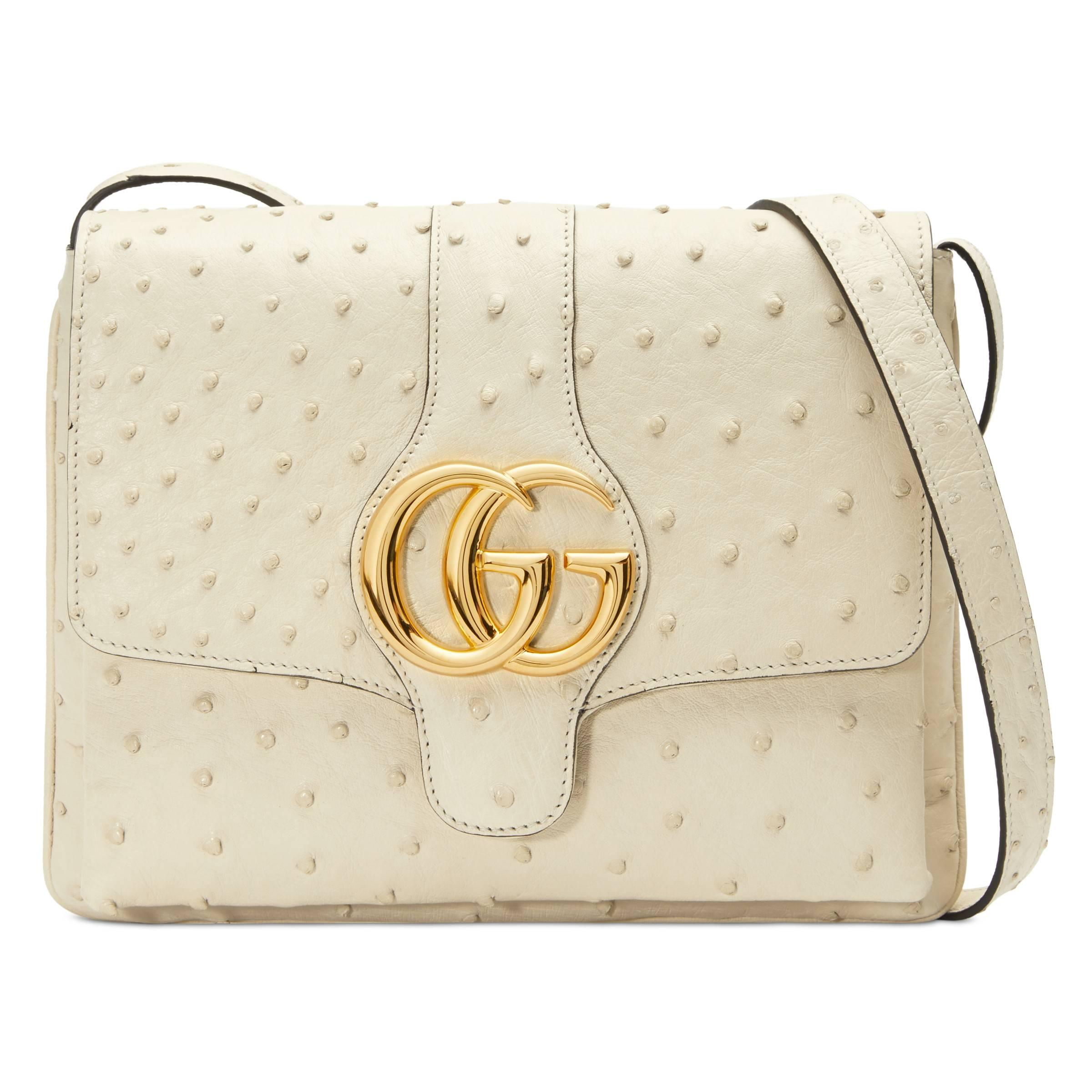 33c0f91bc2df Gucci Arli Medium Ostrich Shoulder Bag in White - Lyst