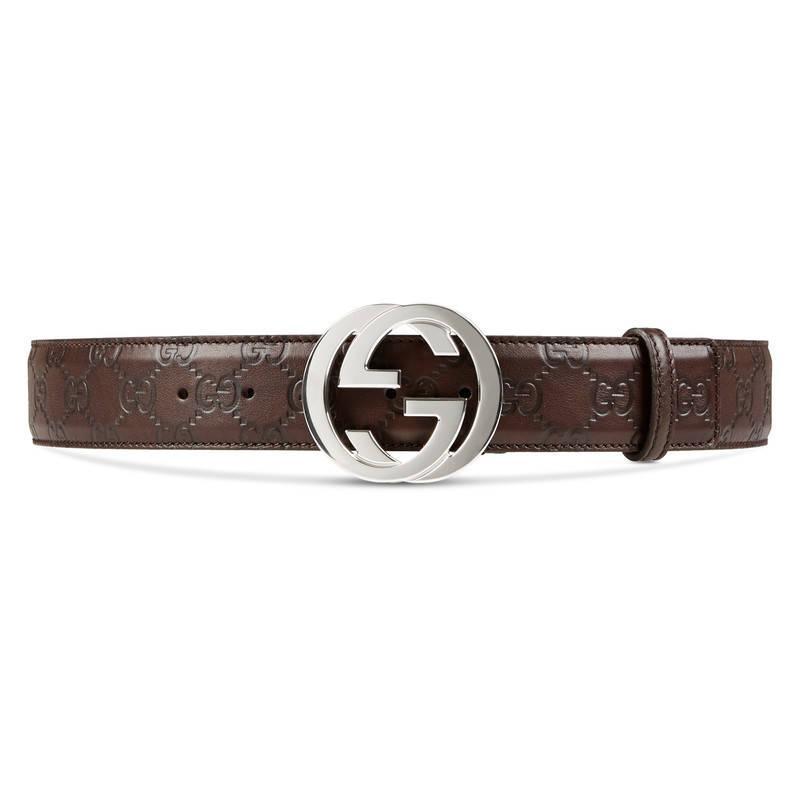 gucci ssima belt with interlocking g in brown lyst