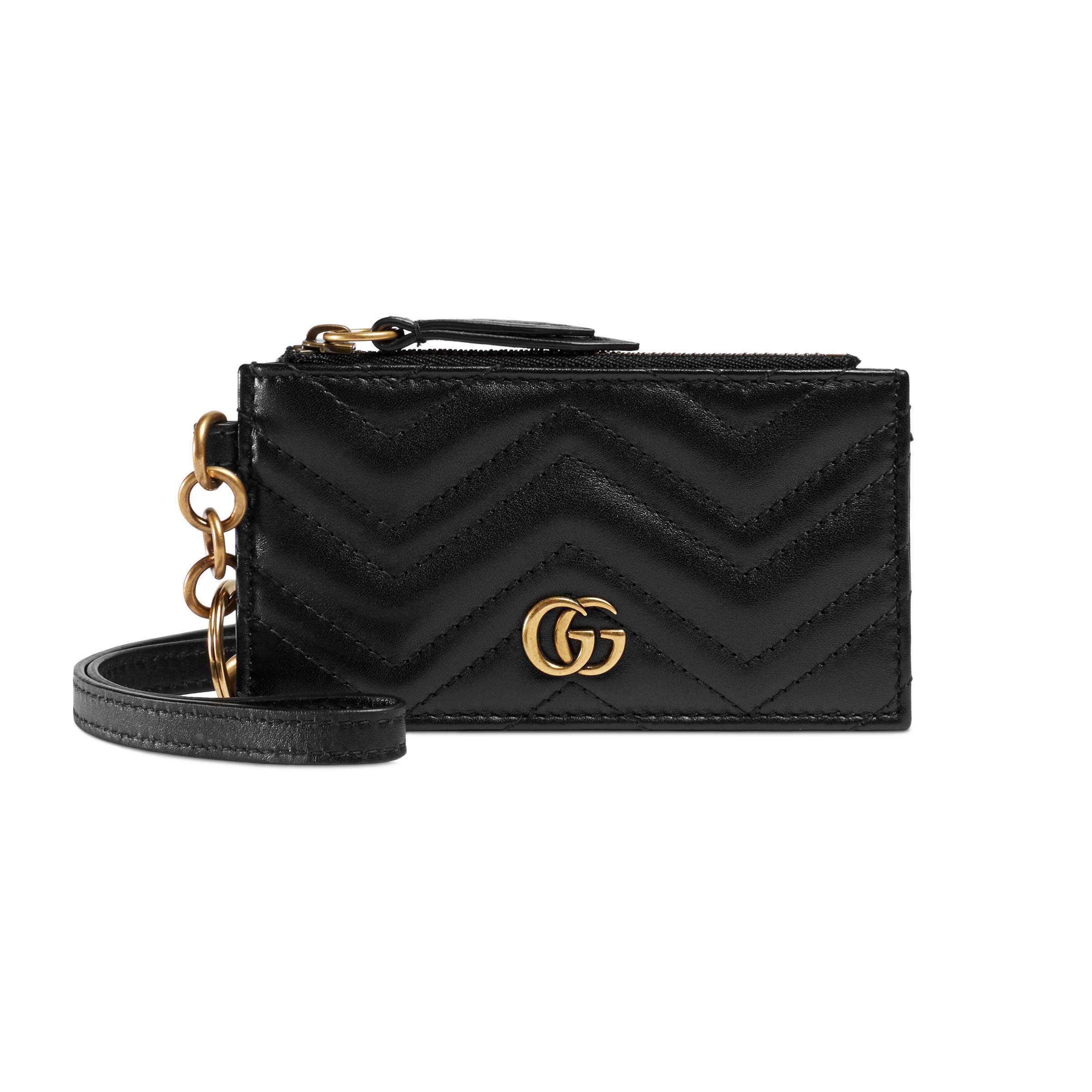 7f3299eddee5 Gucci GG Marmont Card Case in Black - Lyst
