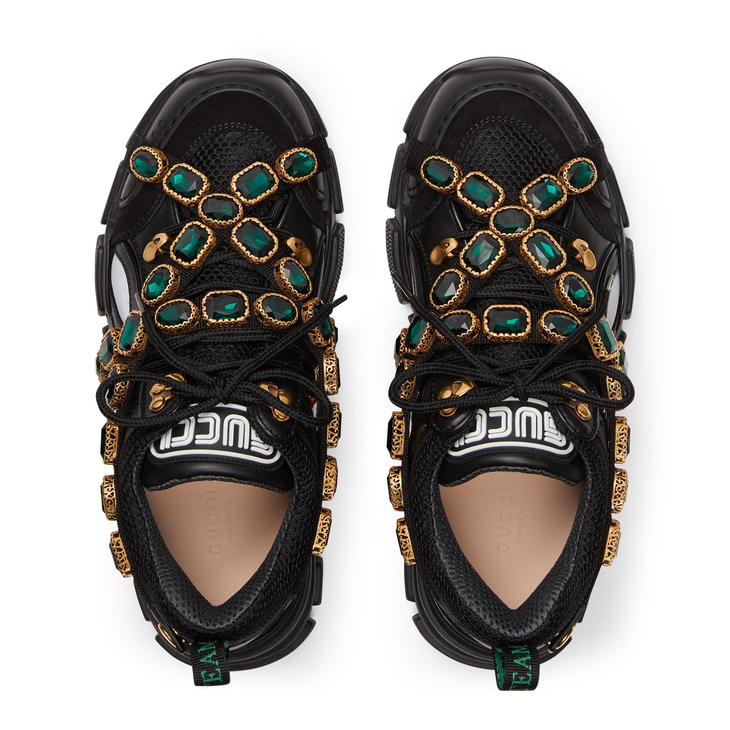 be83a3ced83 Gucci - Black Flashtrek Sneaker With Removable Crystals - Lyst. View  fullscreen