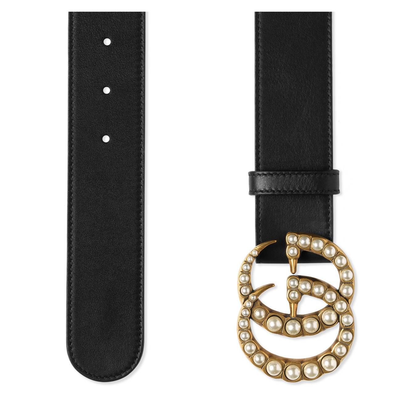 f70b52f3564 Gucci - Black Leather Belt With Pearl Double G - Lyst. View fullscreen