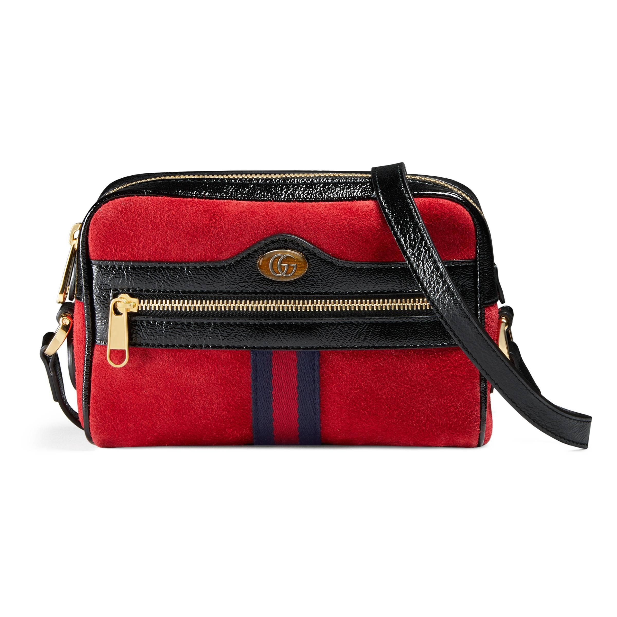ab12ee6e85b Gucci Ophidia Suede Mini Bag in Red - Lyst