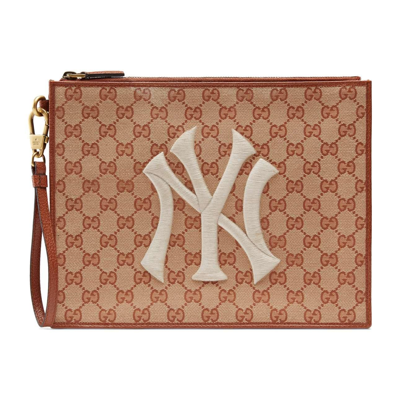 Lyst - Gucci Original GG Pouch With Ny Yankeestm Patch Pink in Pink ... 35161c70c29da