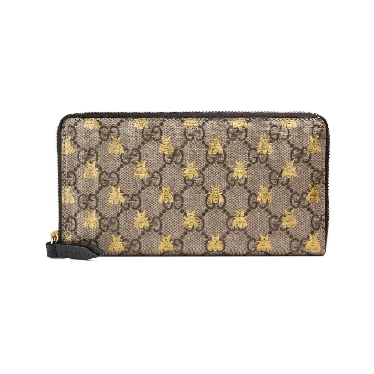 25b2353248de Lyst - Gucci GG Supreme Bees Zip Around Wallet in Black