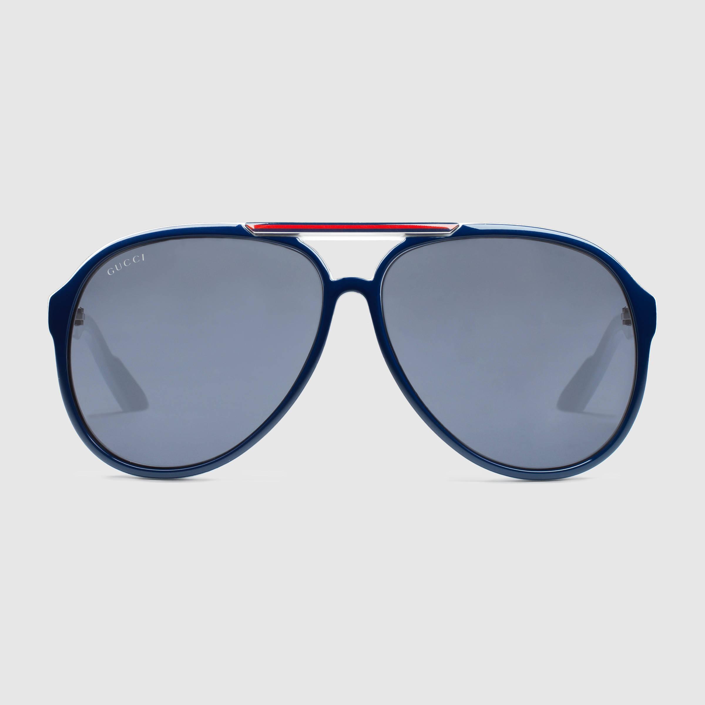 6e8cd060f891 Gucci Medium Aviator Sunglasses in Blue for Men - Lyst