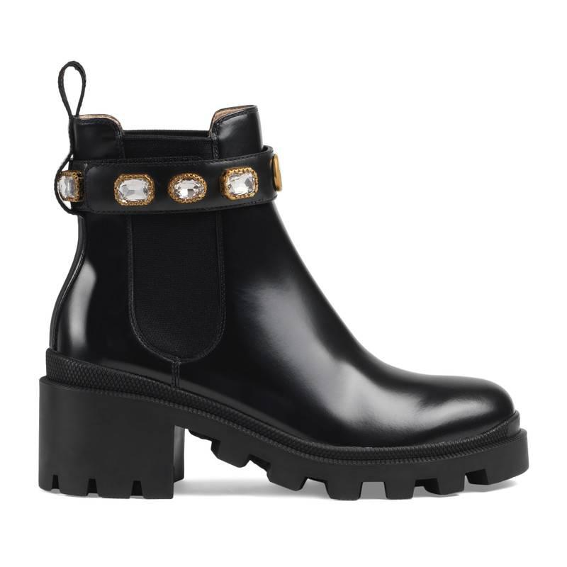Gucci Leather Ankle Boot With Belt in