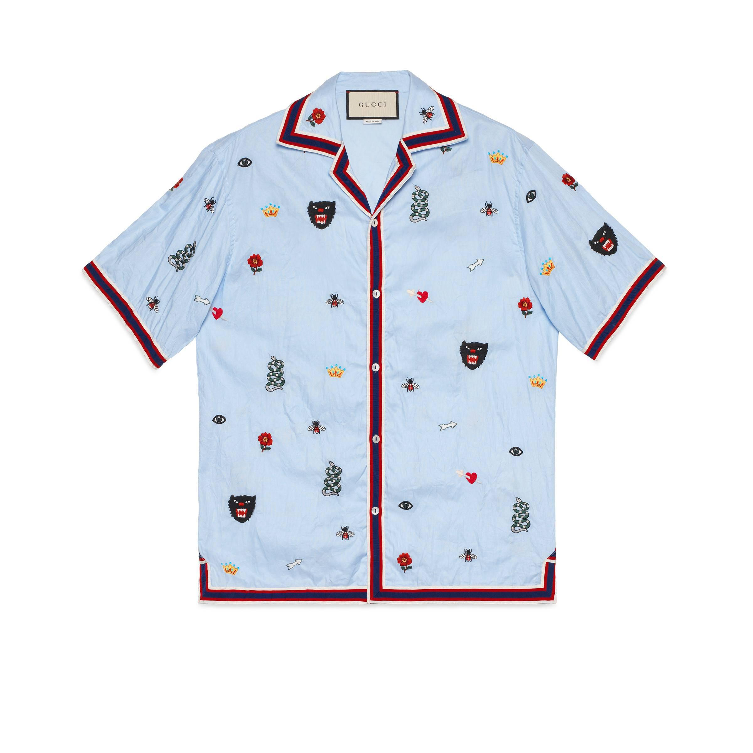 f58356526b2 Gucci - Blue Embroidered Cotton Bowling Shirt for Men - Lyst. View  fullscreen