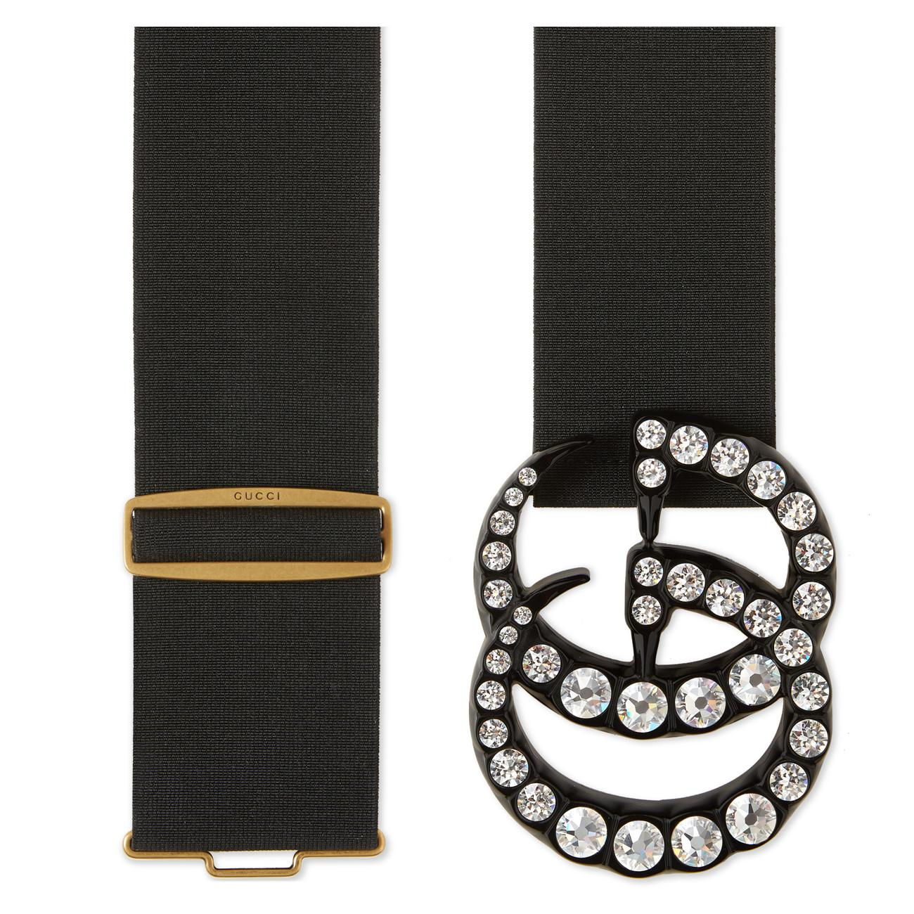 ff4a29dab8f Gucci Elastic Belt With Crystal Double G Buckle in Black - Save 14 ...