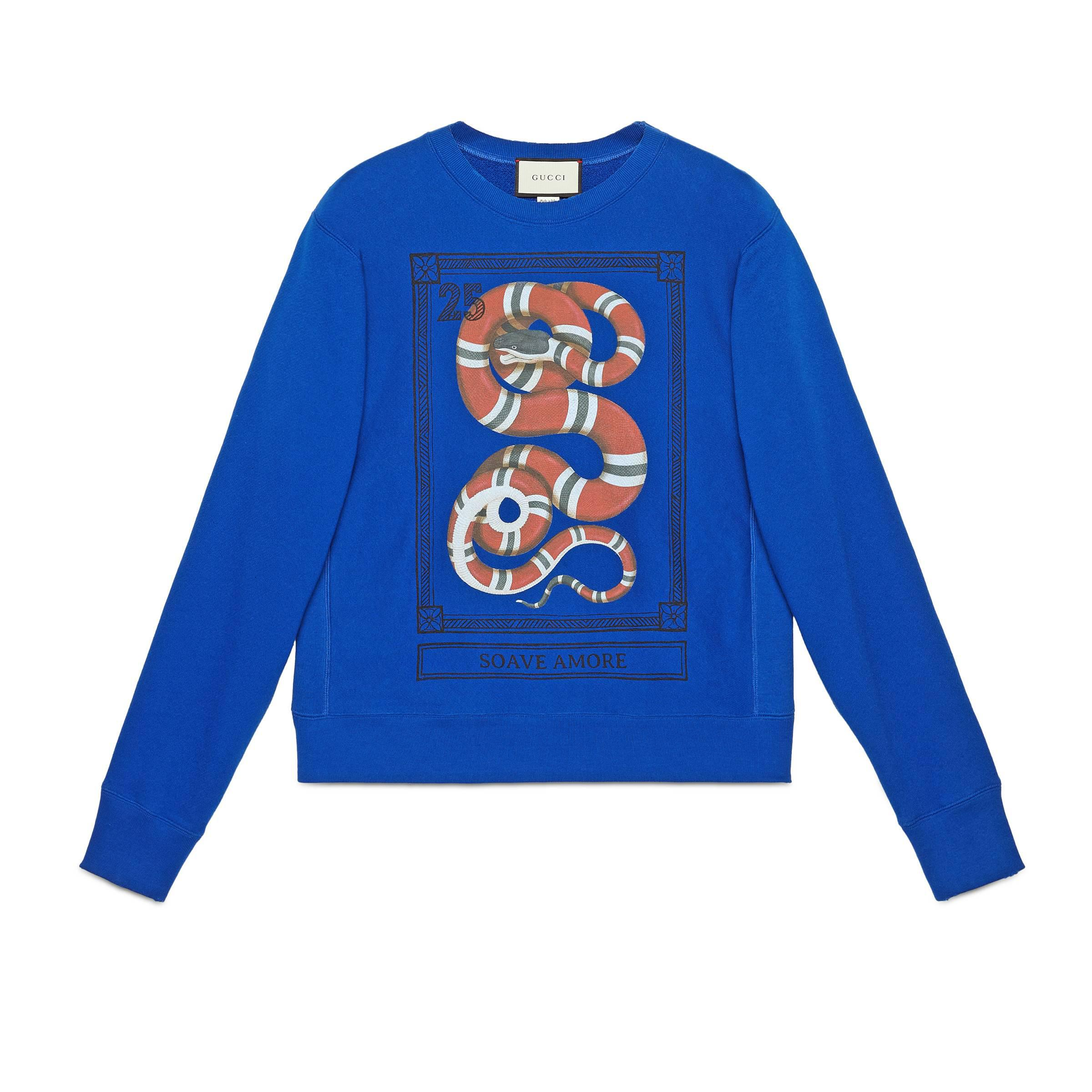 757c2acdf782a Gucci Cotton Sweatshirt With Kingsnake Print in Blue for Men - Lyst