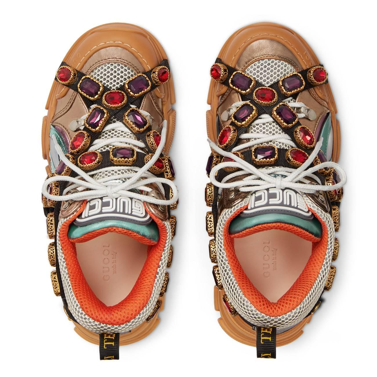 gucci flashtrek sneaker with removable crystals in