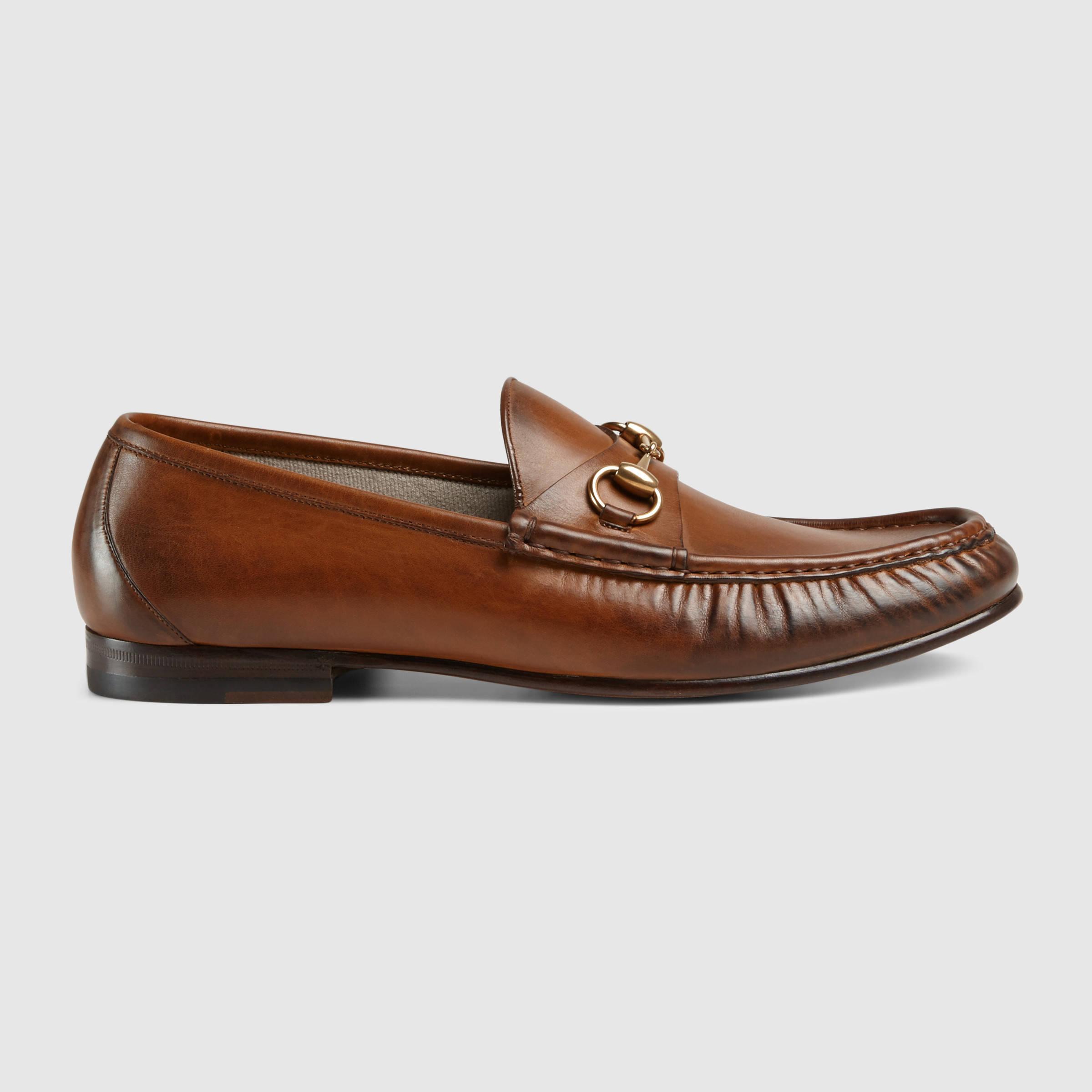 gucci 1953 horsebit leather loafer in brown for men lyst. Black Bedroom Furniture Sets. Home Design Ideas