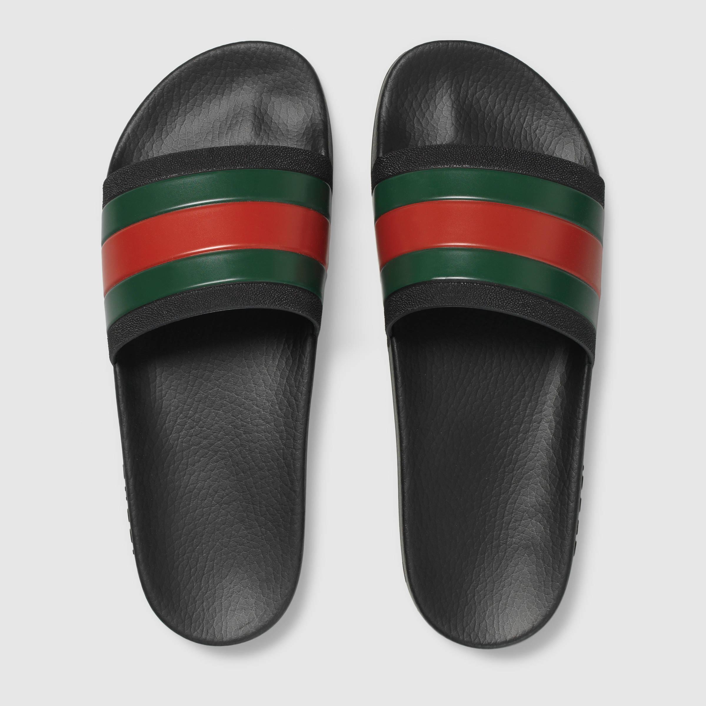 Gucci Rubber Slide Sandal In Black For Men Lyst