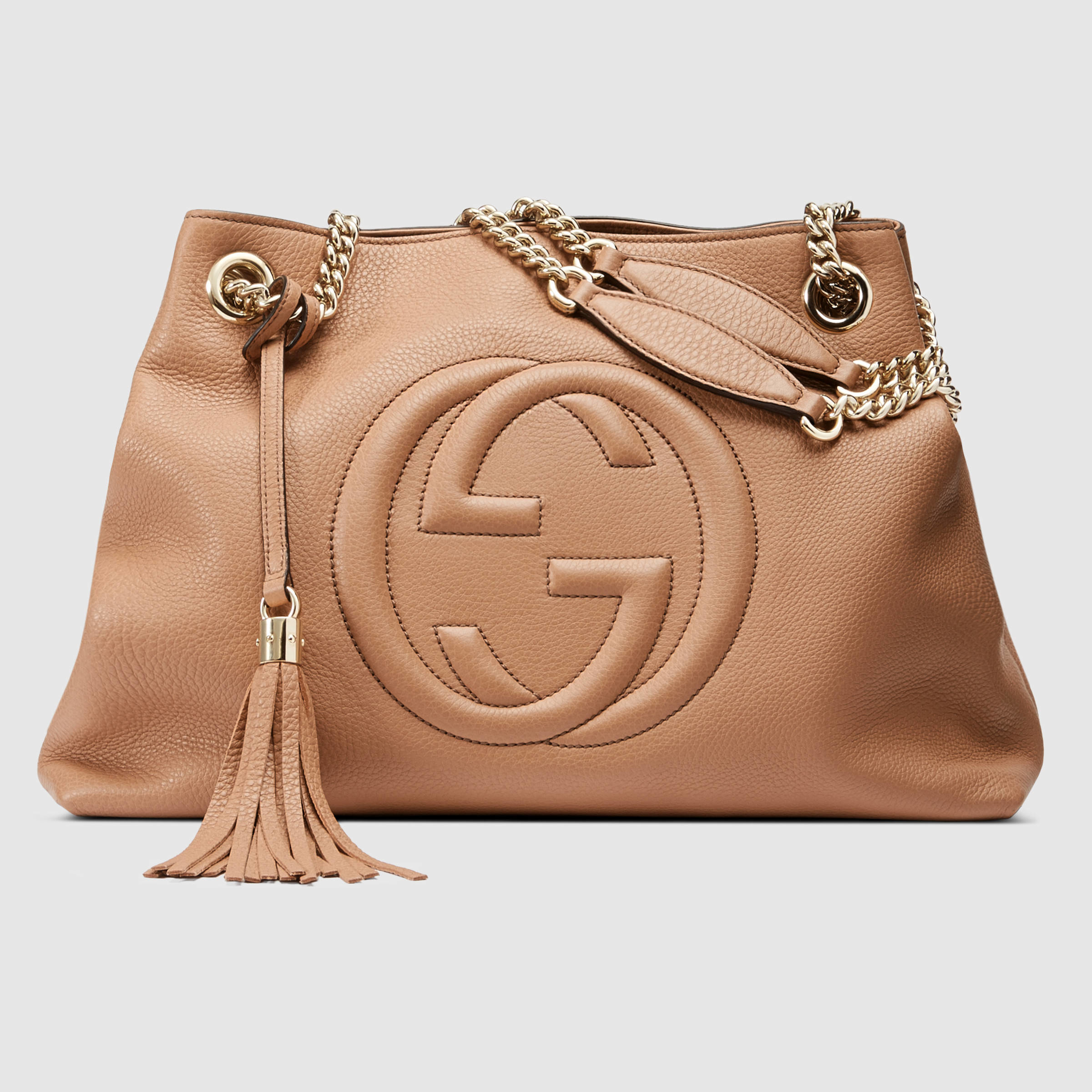 84d53a672b70 Gucci Soho Leather Shoulder Bag in Natural - Lyst