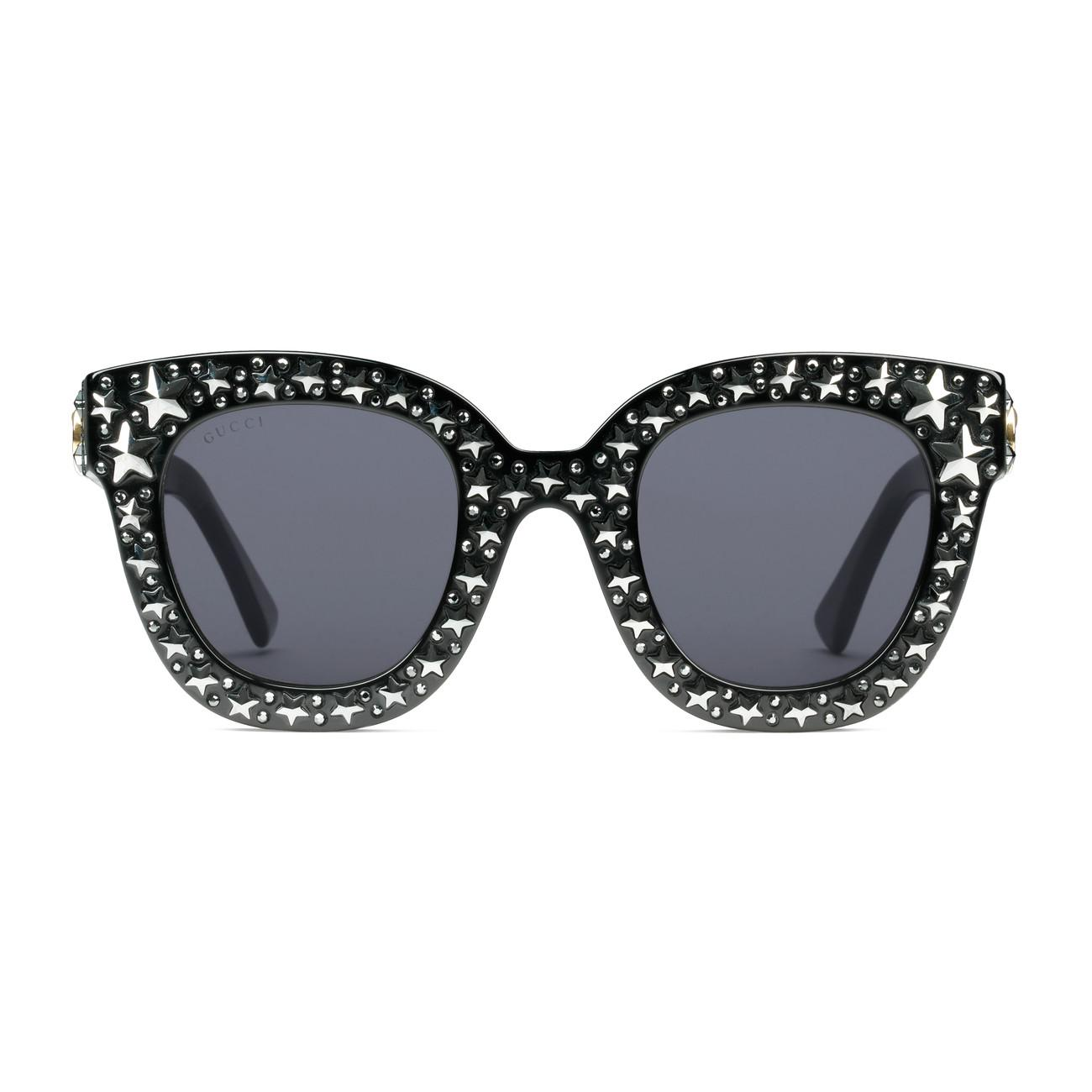5c95e9928b050 Gucci - Black Cat Eye Acetate Sunglasses With Stars - Lyst. View fullscreen