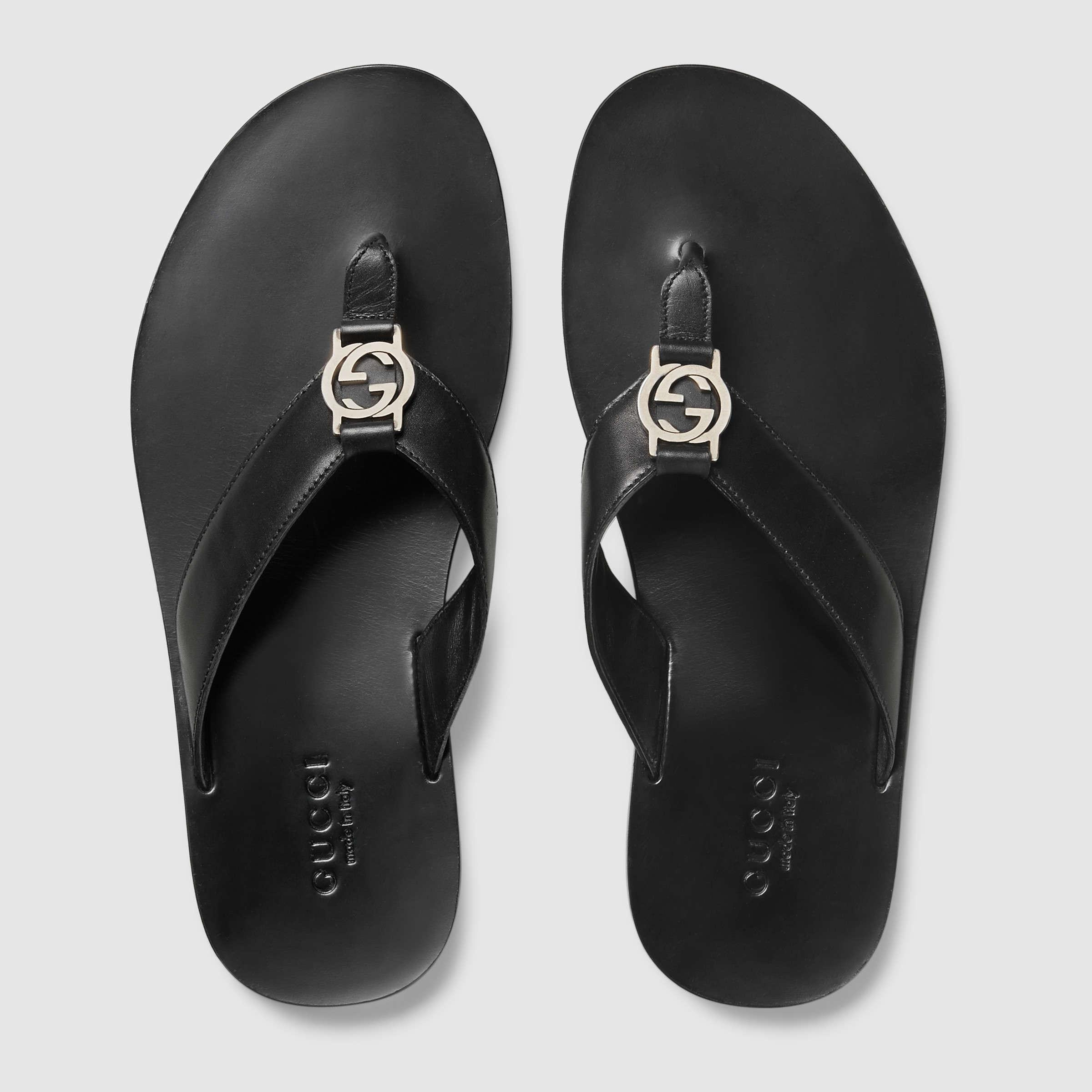 Gucci Leather Thong Sandal In Black For Men Lyst