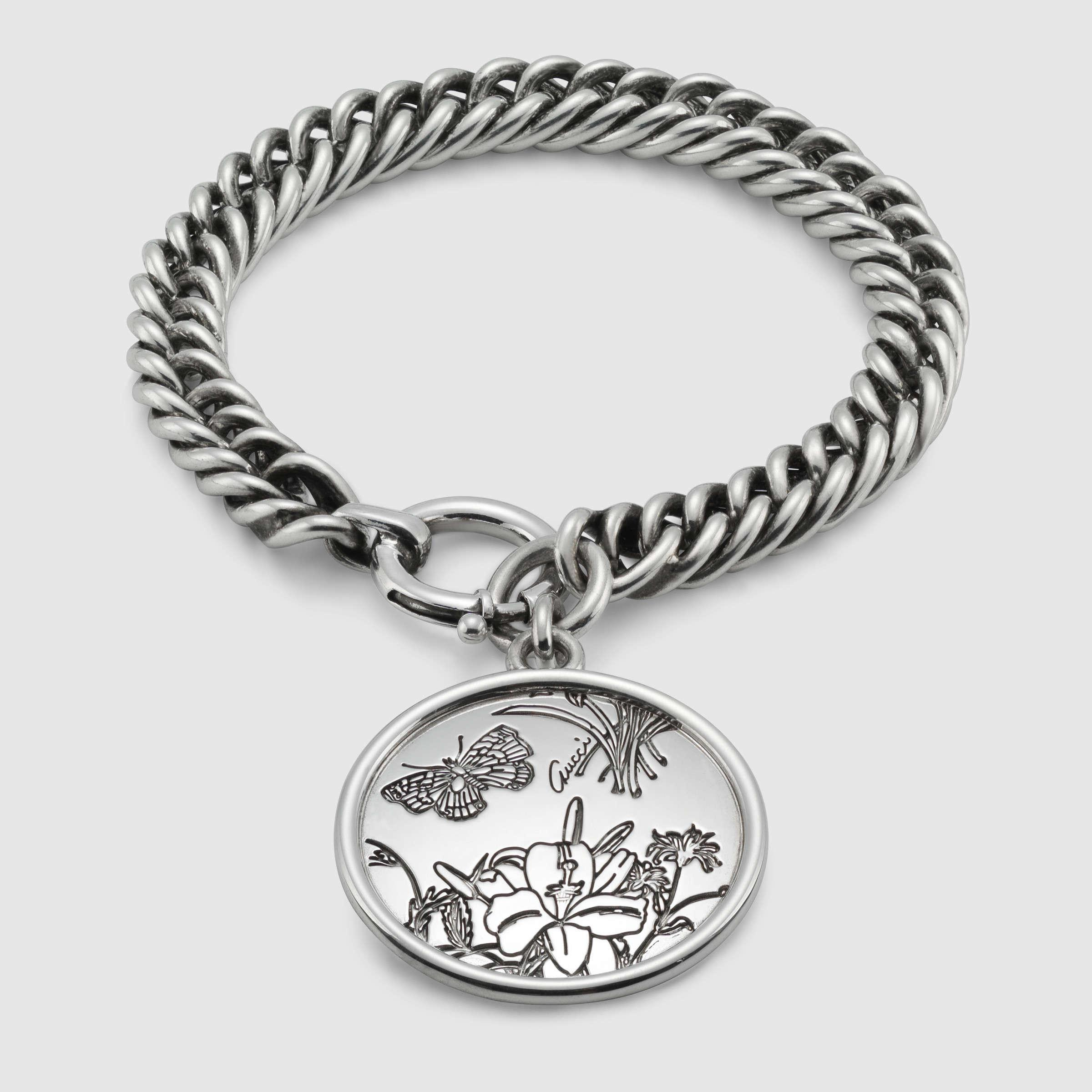 c17ae2b9e380b Gucci Metallic Flora Bracelet In Sterling Silver