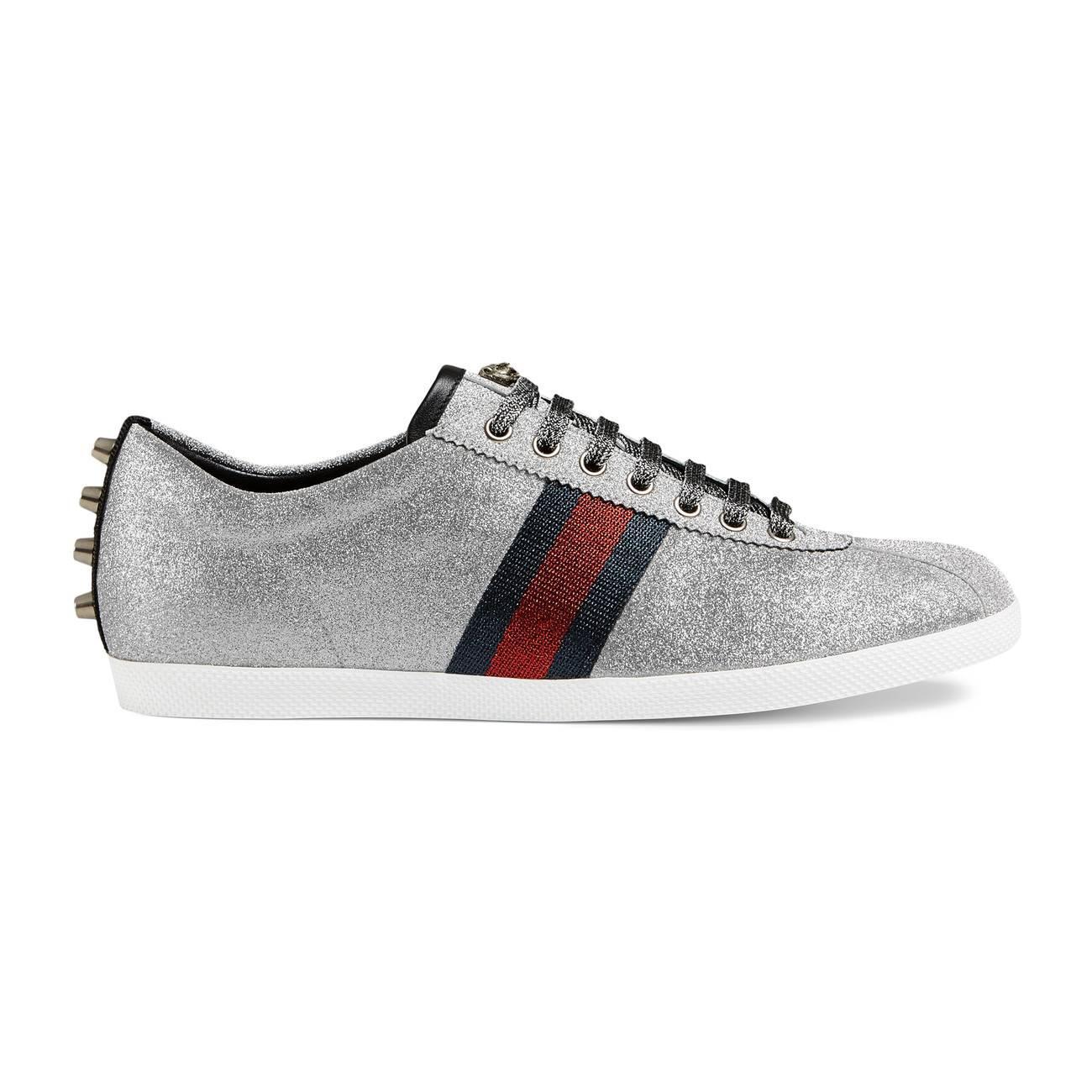 Gucci Glitter Web Studded Sneaker in