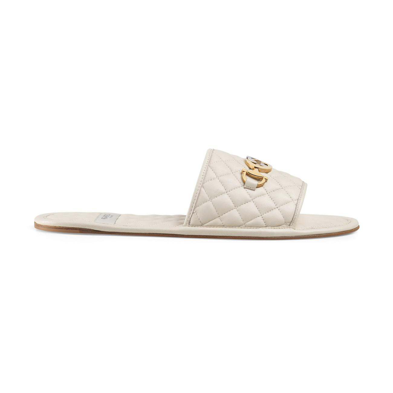 2a6f3ea12 Lyst - Gucci Quilted Slide Sandal With Interlocking G Horsebit in White