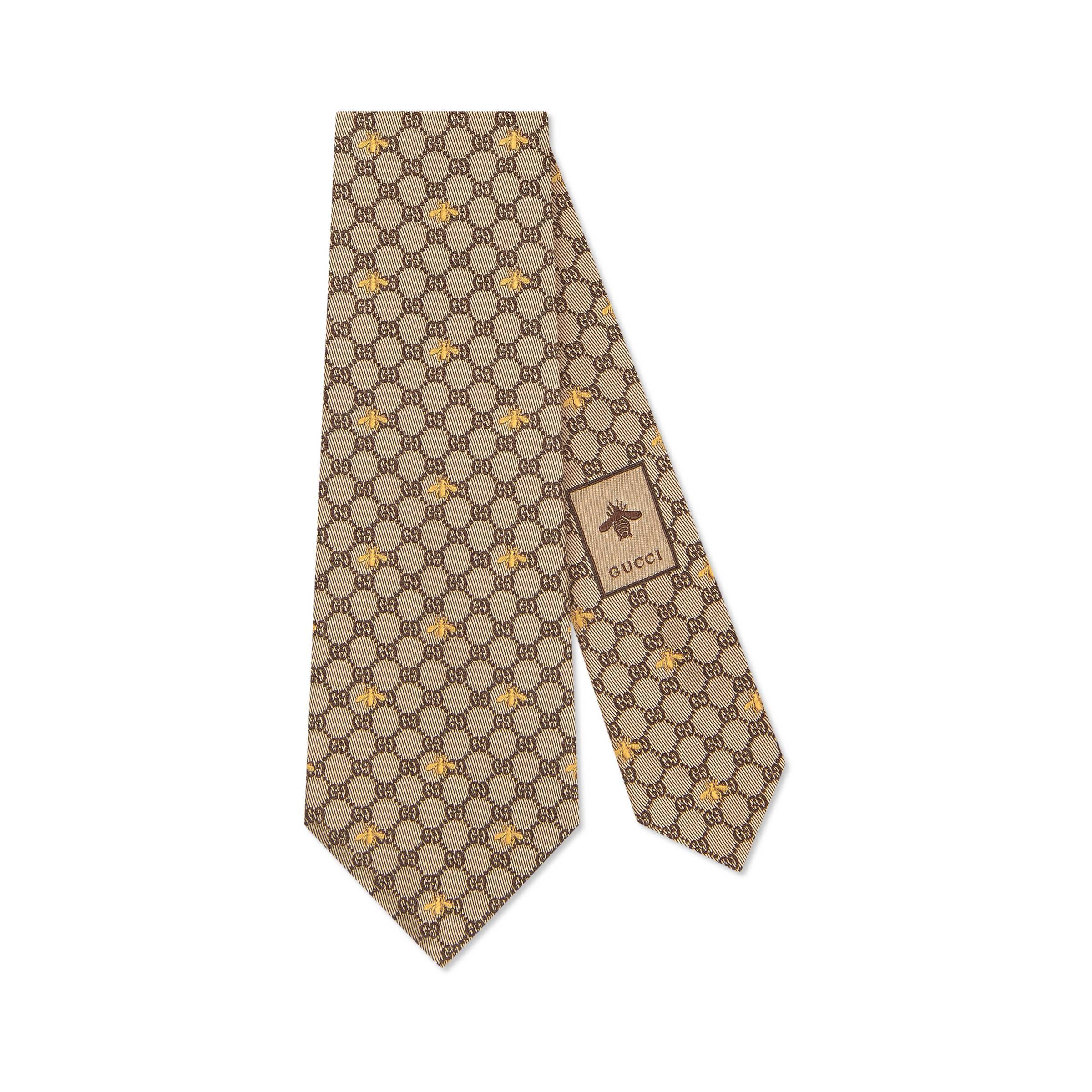 034c614559e29 Lyst - Corbata de Seda con GG y Abejas Gucci de hombre de color Neutro