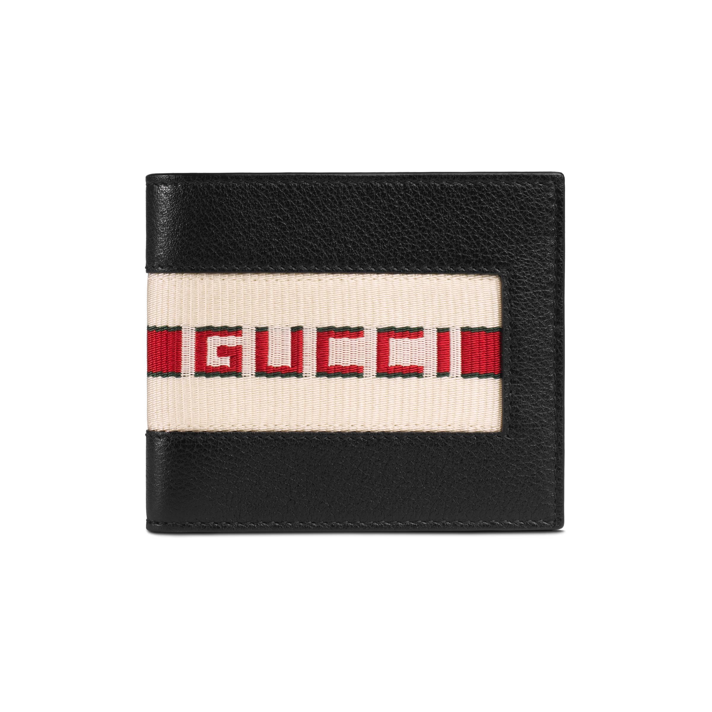 a85fe6e7534a Lyst - Portefeuille noir Logo Band Gucci pour homme en coloris Noir ...