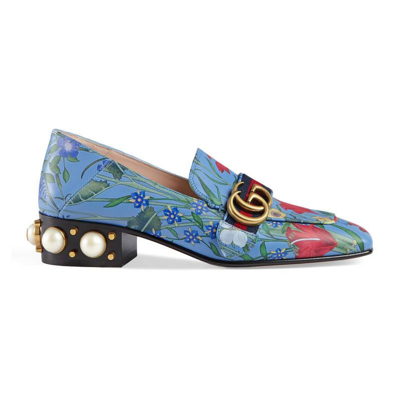 5b2297e0cfd Gucci New Flora Print Leather Mid-heel Loafer in Blue - Lyst
