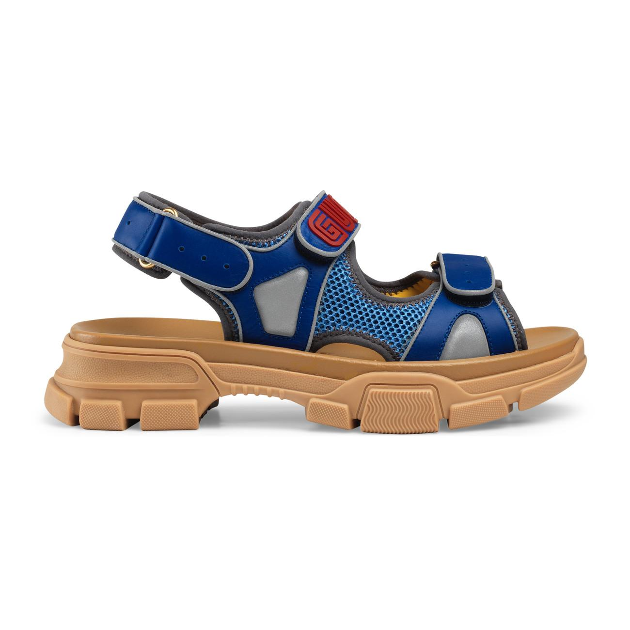 333c67e5edb0d3 Gucci - Blue Leather And Mesh Sandal for Men - Lyst. View fullscreen