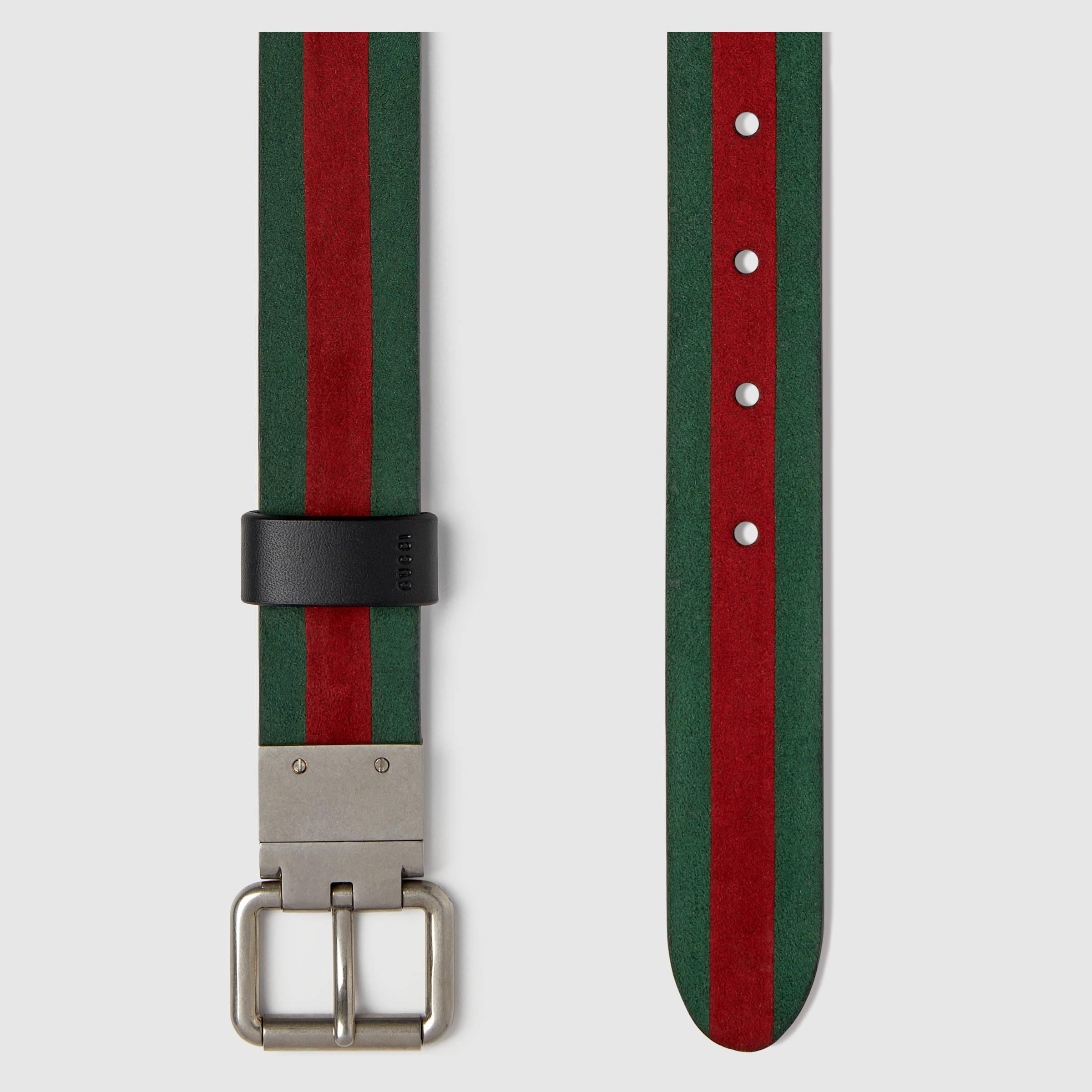 4ee26e9c2b0 Lyst - Gucci Reversible Leather And Web Belt in Black for Men