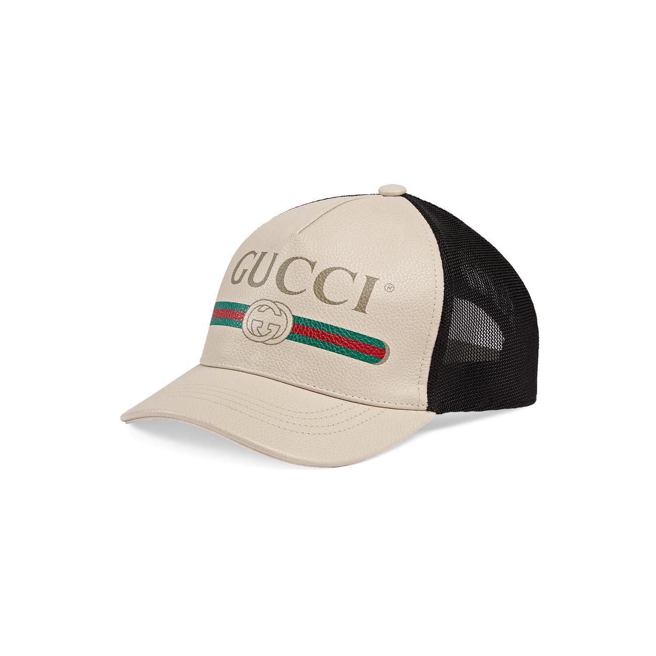 a480d69f5e Women's White Print Leather Baseball Hat
