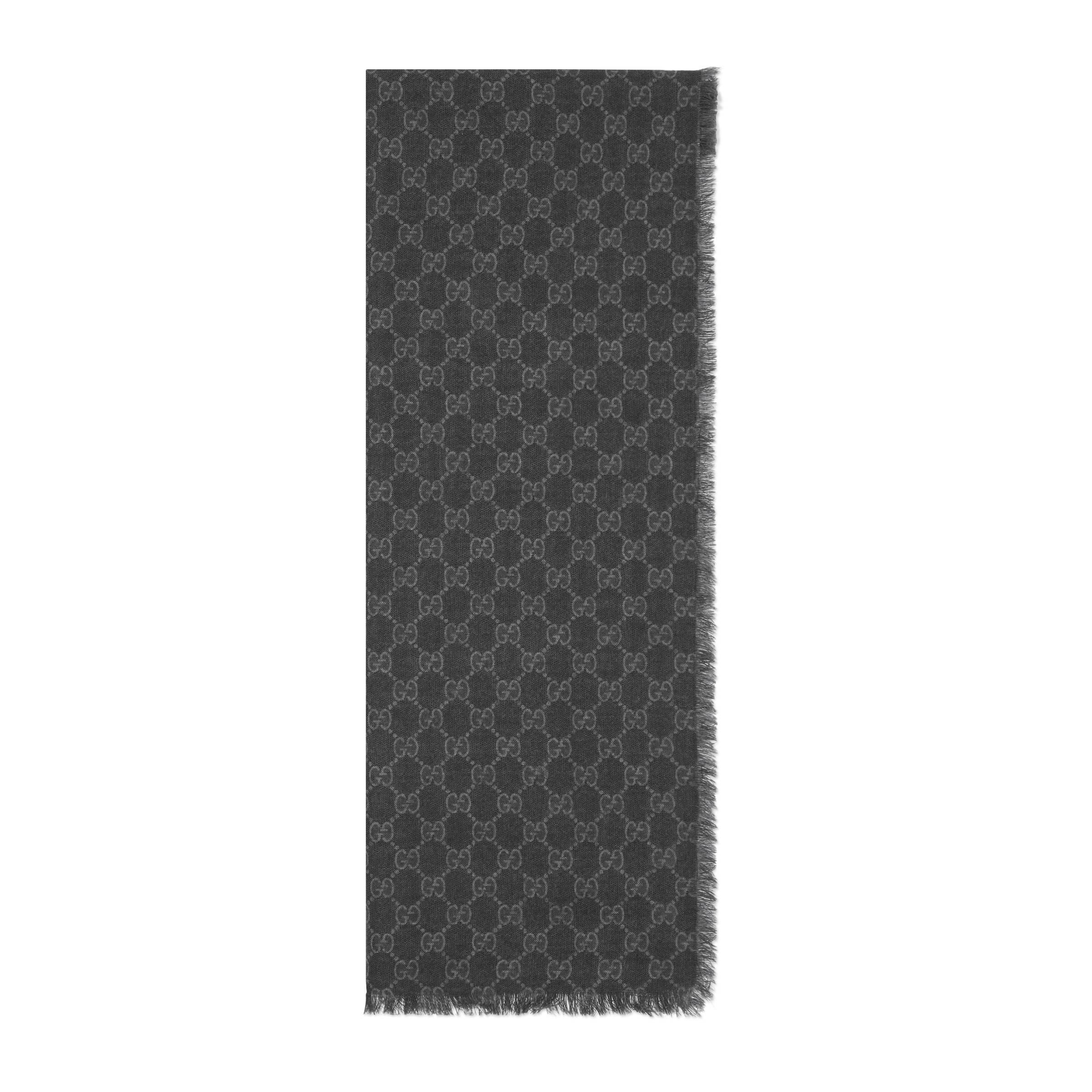 acheter bien moins cher braderie Étole en laine GG à bande Web homme de coloris noir